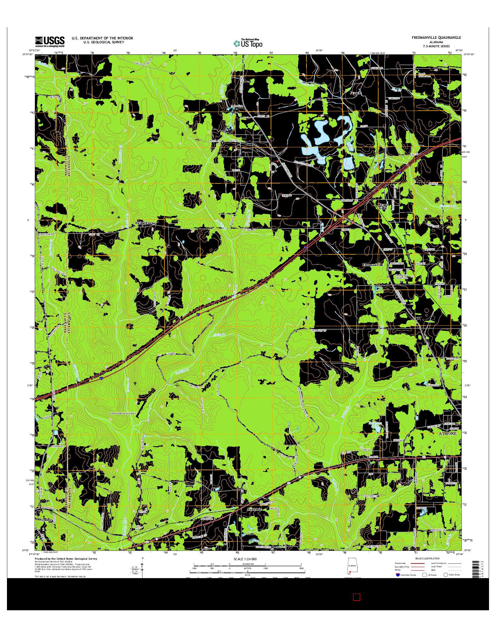 USGS US TOPO 7.5-MINUTE MAP FOR FREEMANVILLE, AL 2014