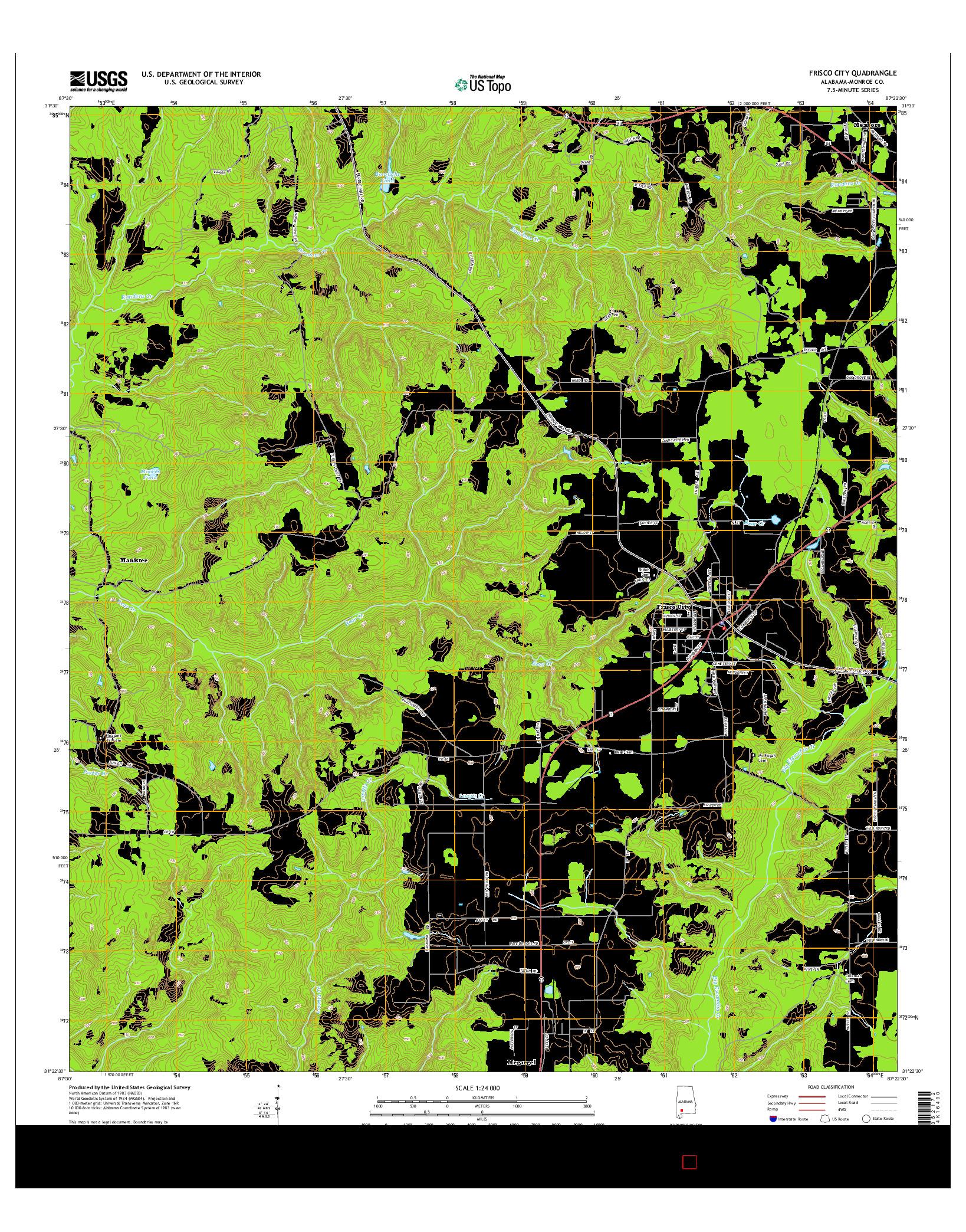 USGS US TOPO 7.5-MINUTE MAP FOR FRISCO CITY, AL 2014