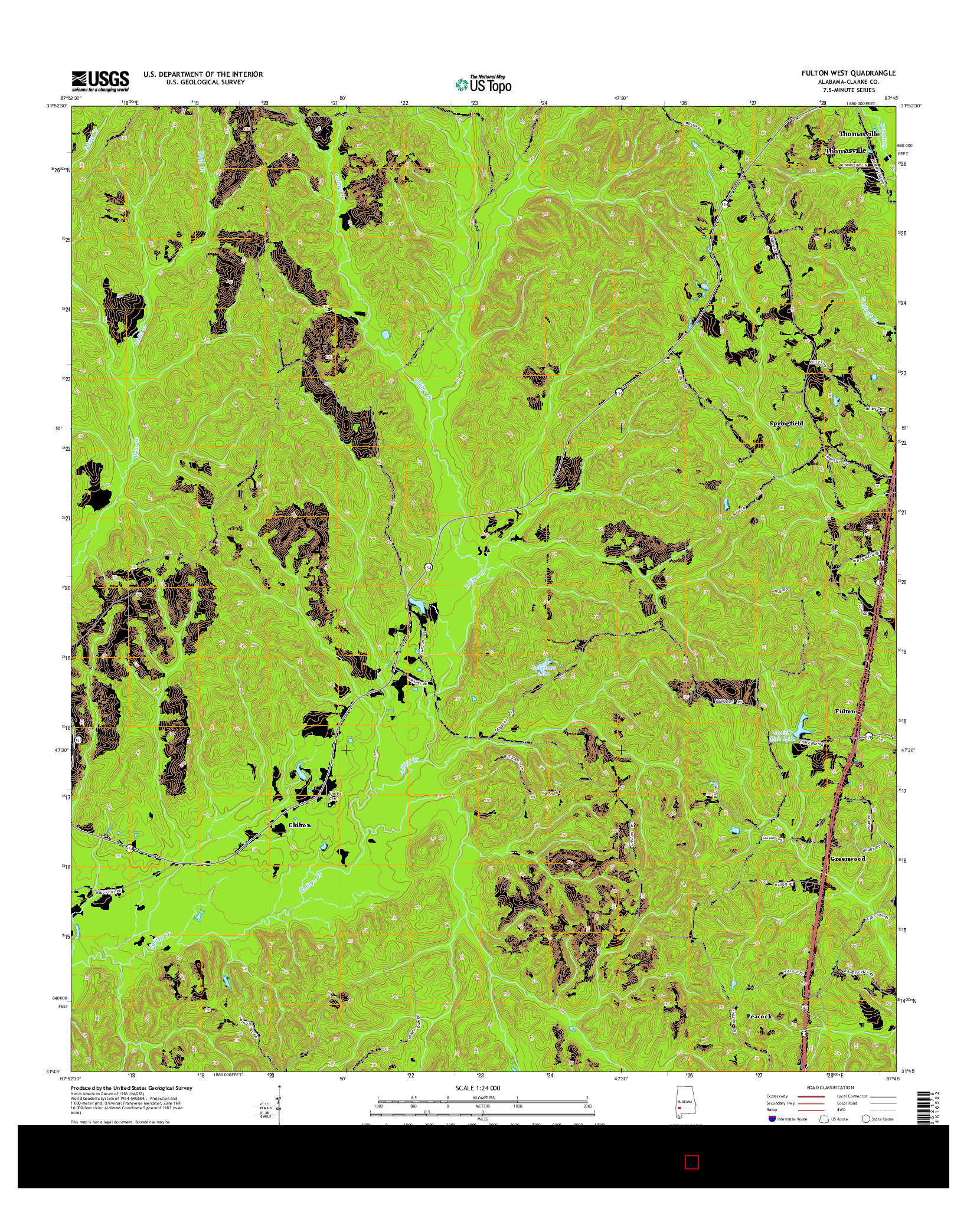 USGS US TOPO 7.5-MINUTE MAP FOR FULTON WEST, AL 2014