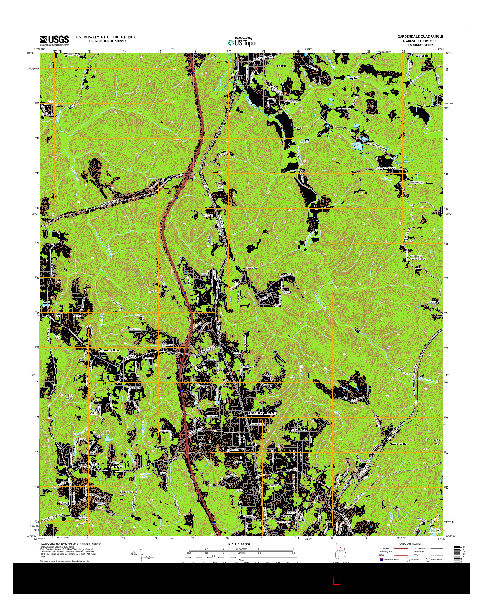 USGS US TOPO 7.5-MINUTE MAP FOR GARDENDALE, AL 2014