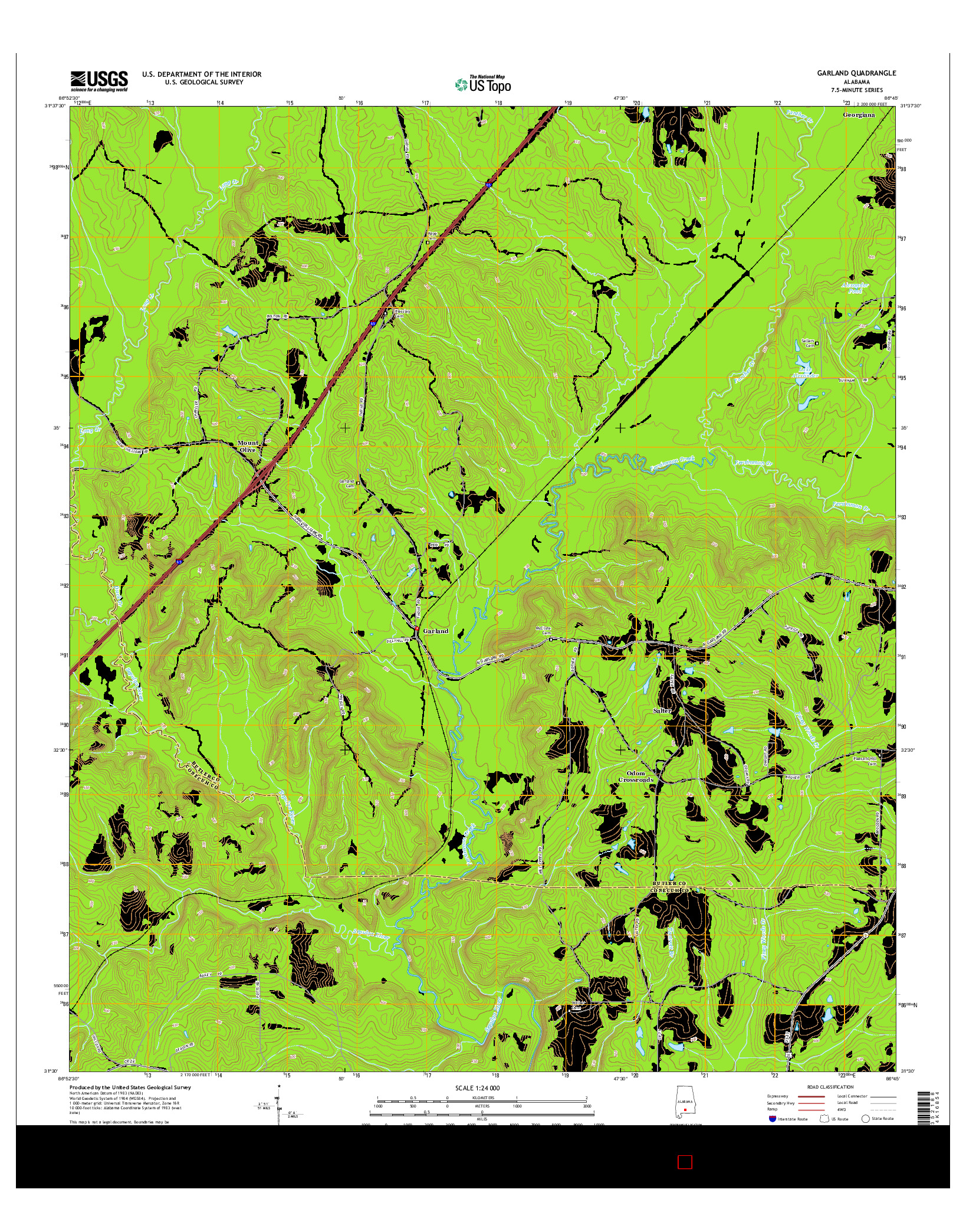 USGS US TOPO 7.5-MINUTE MAP FOR GARLAND, AL 2014