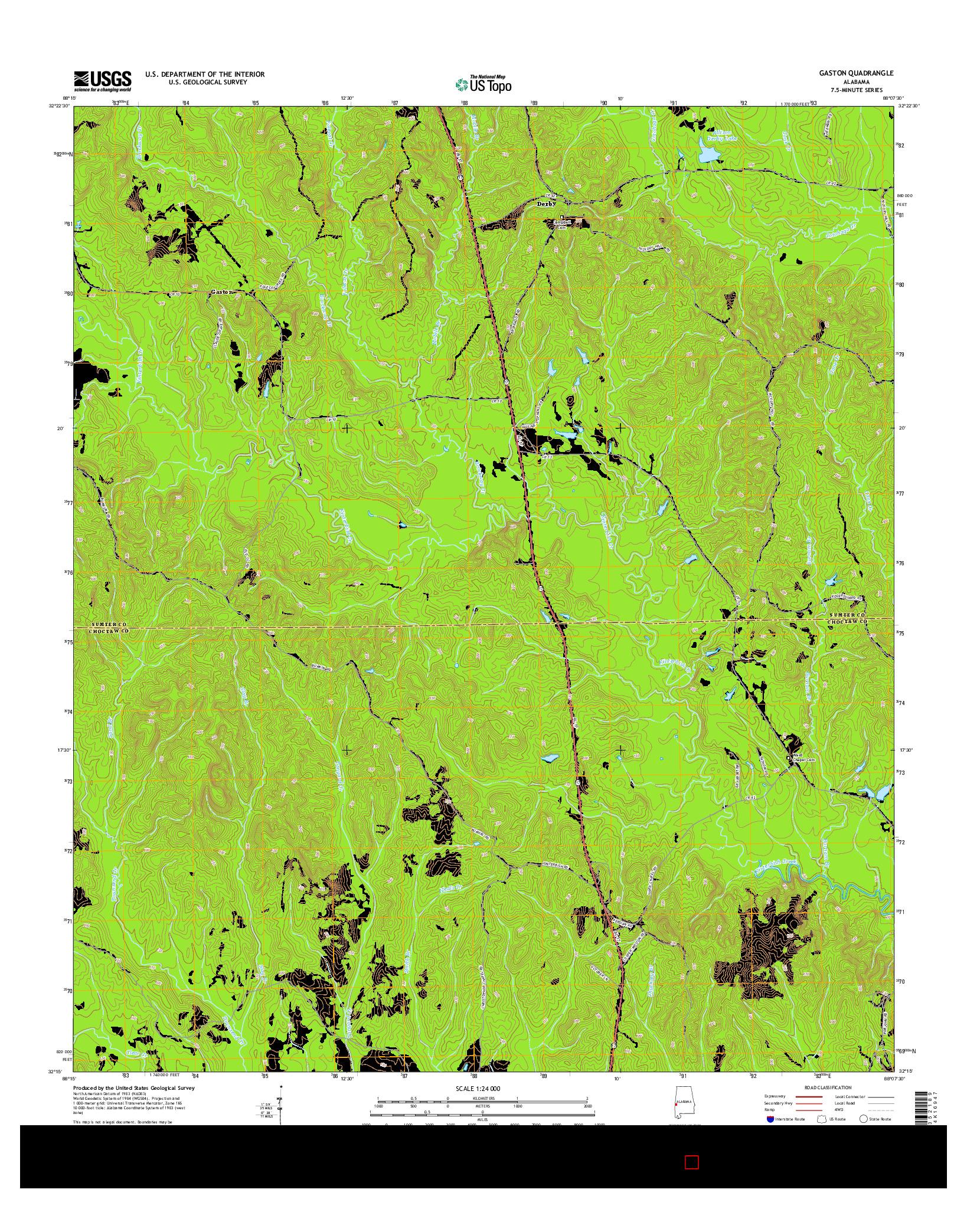 USGS US TOPO 7.5-MINUTE MAP FOR GASTON, AL 2014