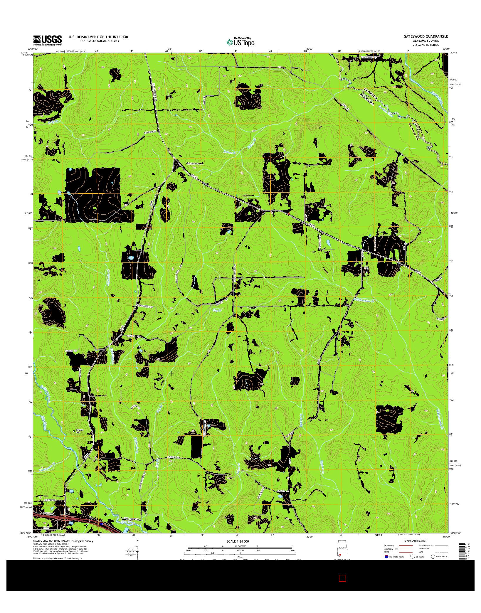 USGS US TOPO 7.5-MINUTE MAP FOR GATESWOOD, AL-FL 2014