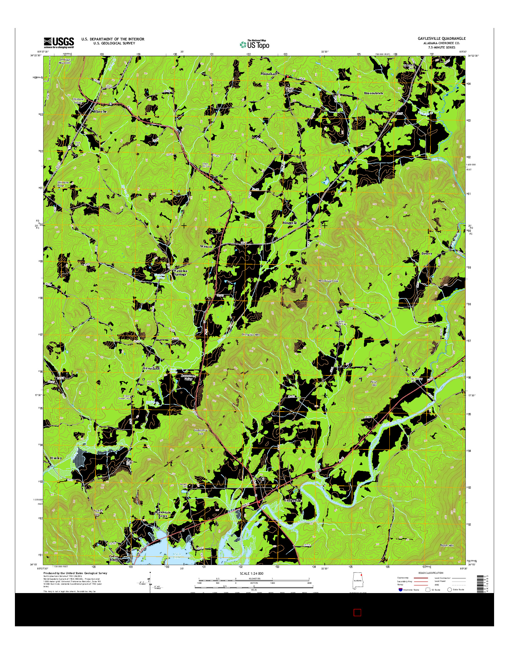 USGS US TOPO 7.5-MINUTE MAP FOR GAYLESVILLE, AL 2014