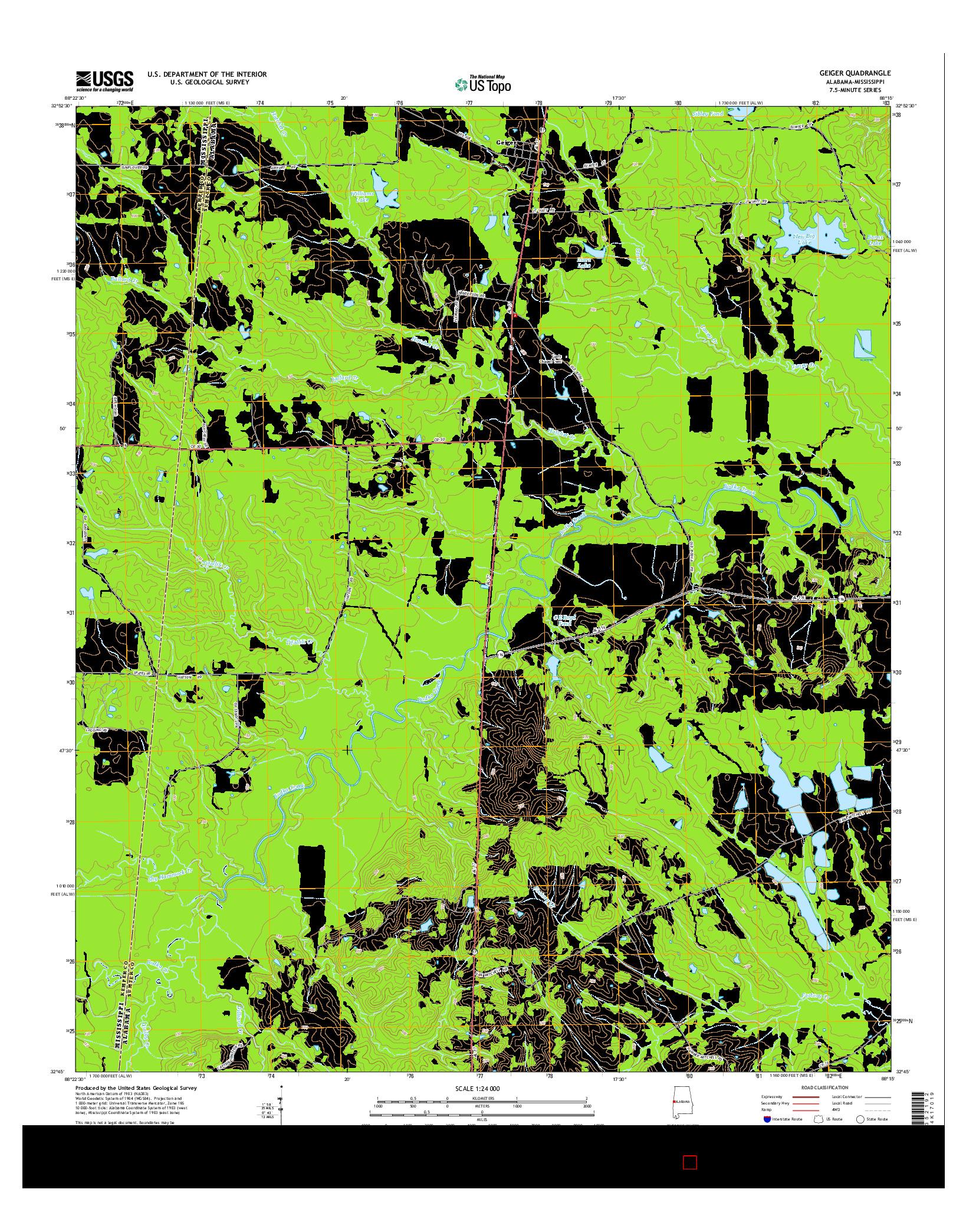 USGS US TOPO 7.5-MINUTE MAP FOR GEIGER, AL-MS 2014