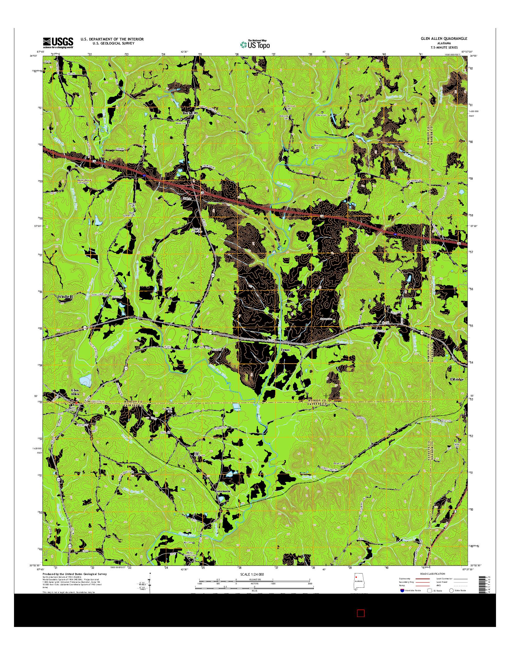 USGS US TOPO 7.5-MINUTE MAP FOR GLEN ALLEN, AL 2014