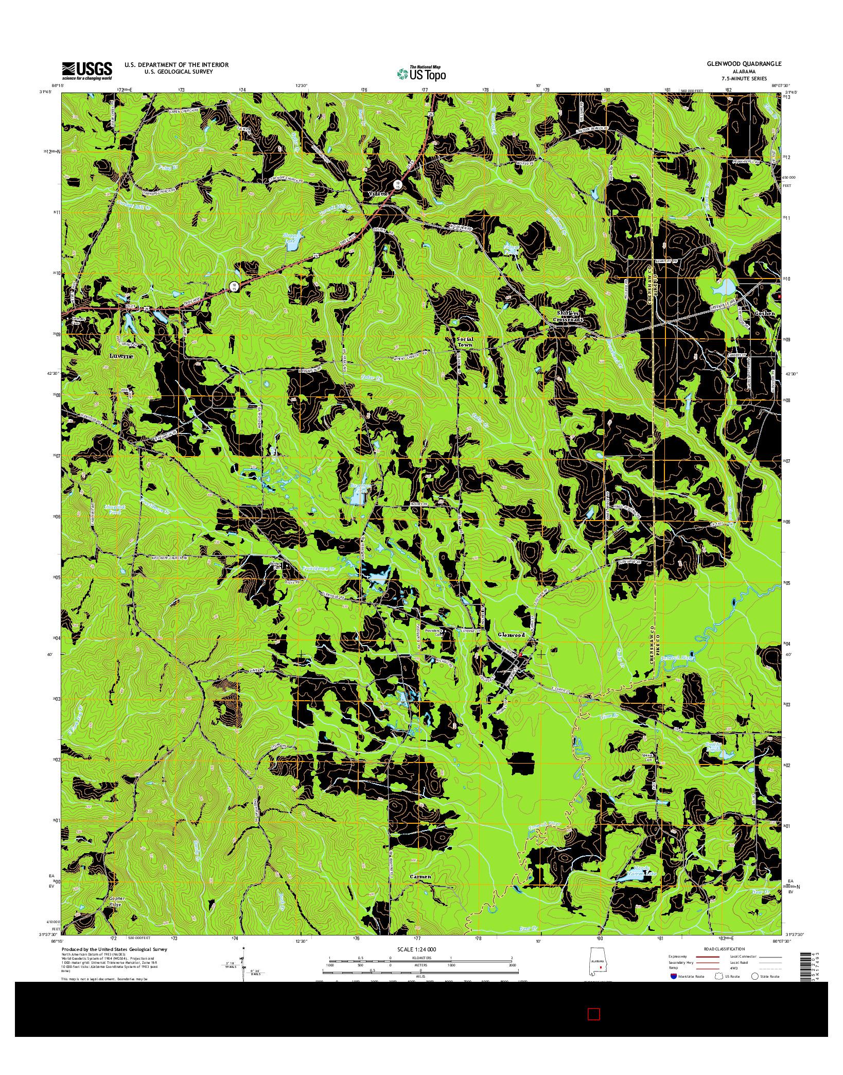 USGS US TOPO 7.5-MINUTE MAP FOR GLENWOOD, AL 2014