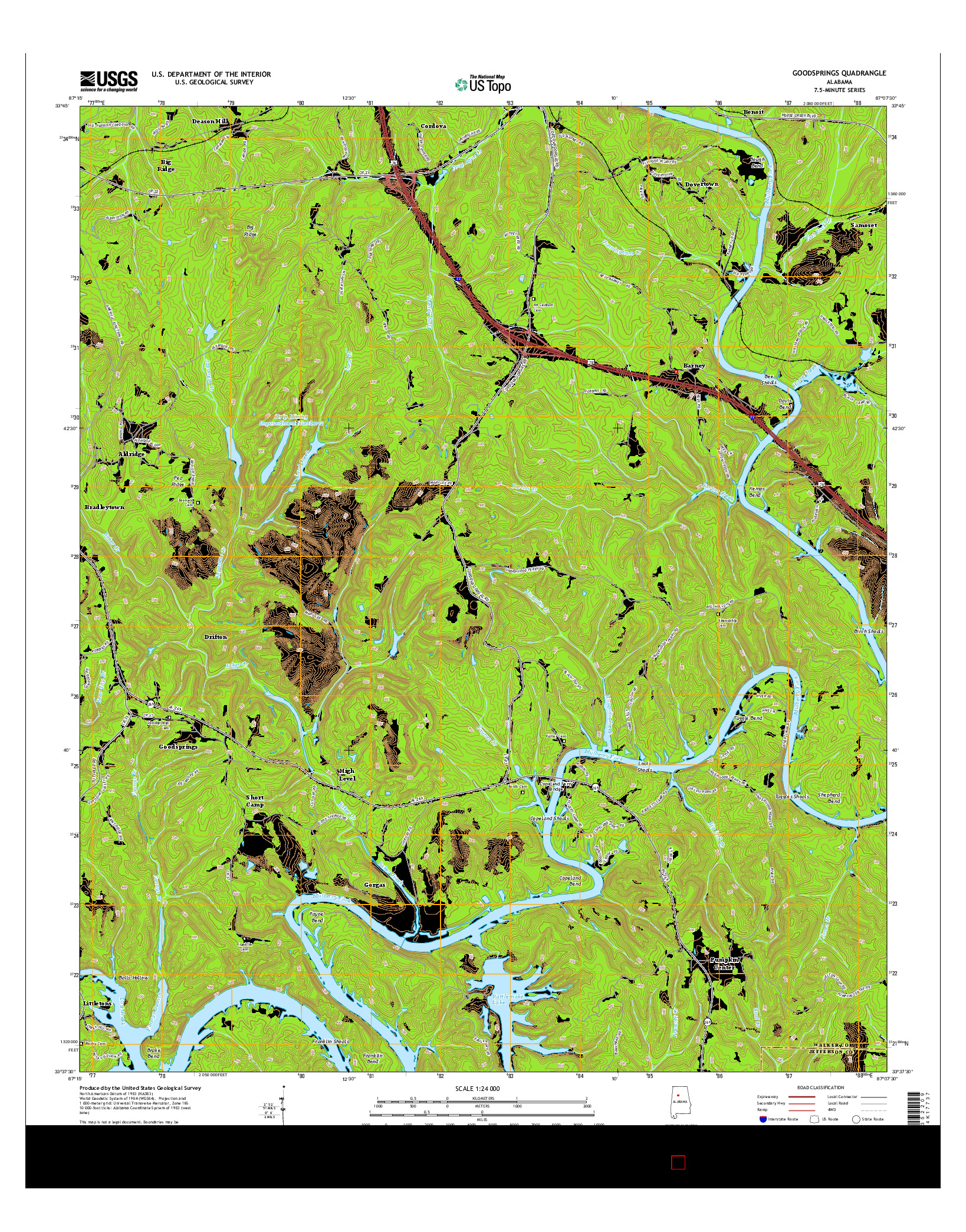 USGS US TOPO 7.5-MINUTE MAP FOR GOODSPRINGS, AL 2014