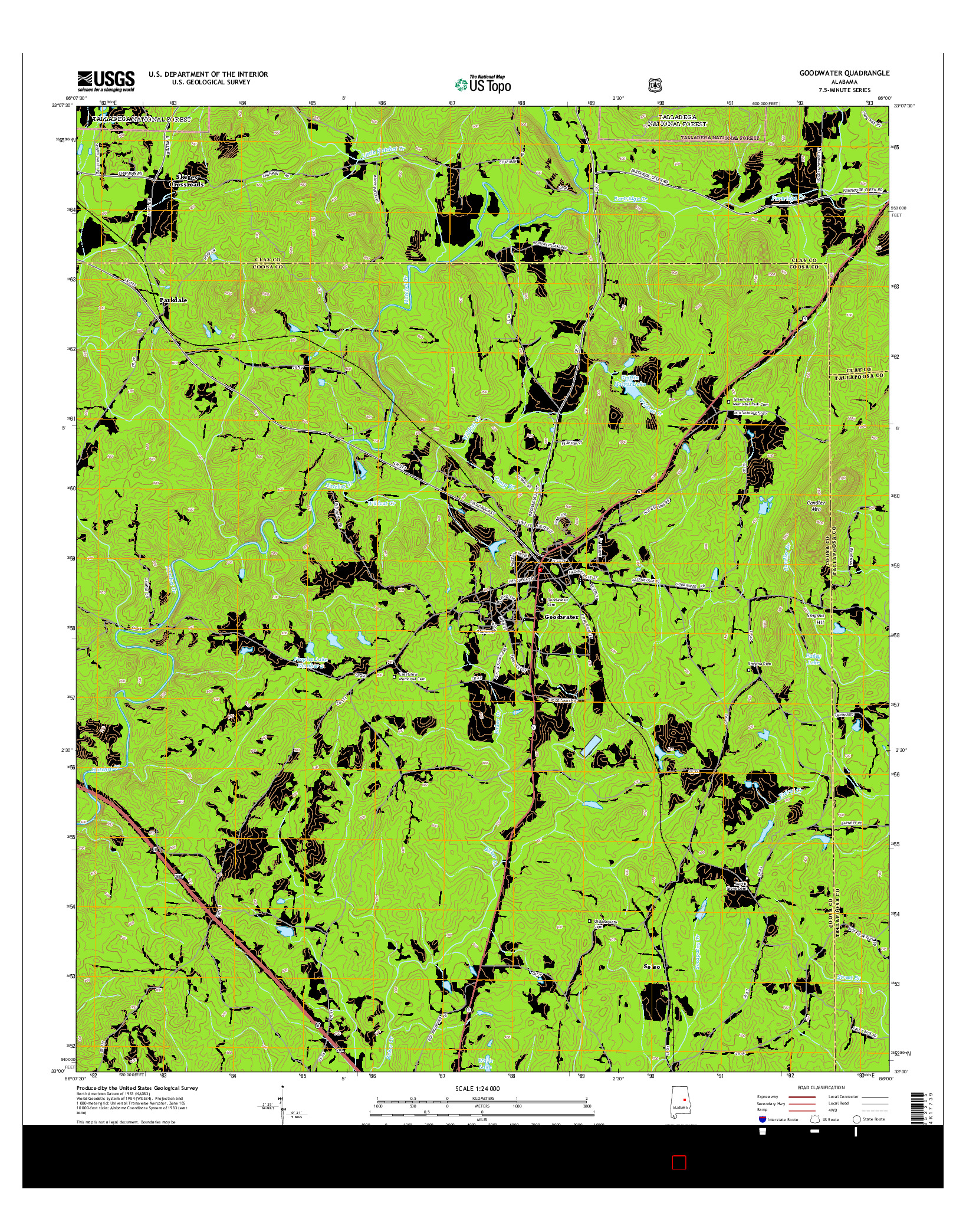 USGS US TOPO 7.5-MINUTE MAP FOR GOODWATER, AL 2014
