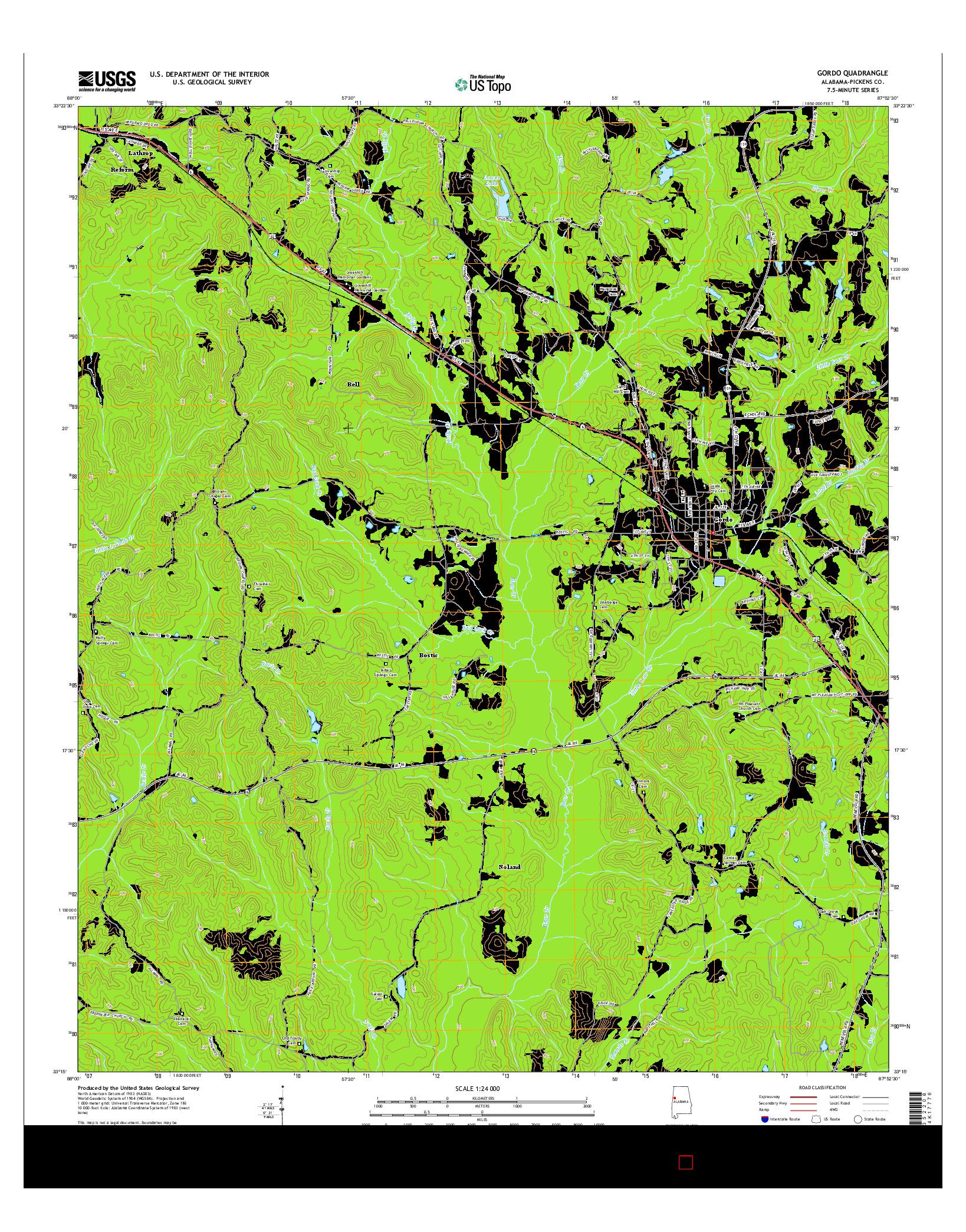 USGS US TOPO 7.5-MINUTE MAP FOR GORDO, AL 2014