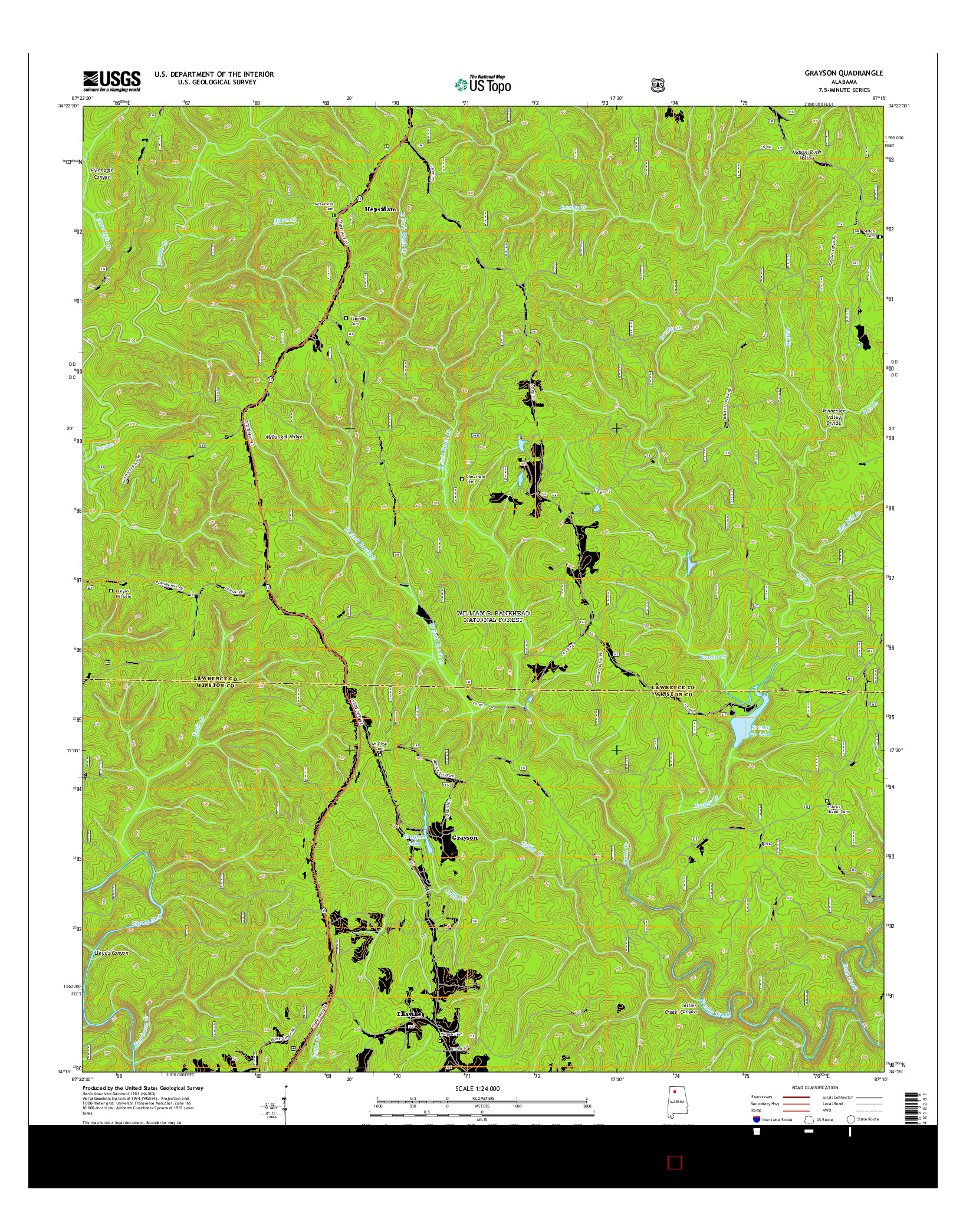 USGS US TOPO 7.5-MINUTE MAP FOR GRAYSON, AL 2014