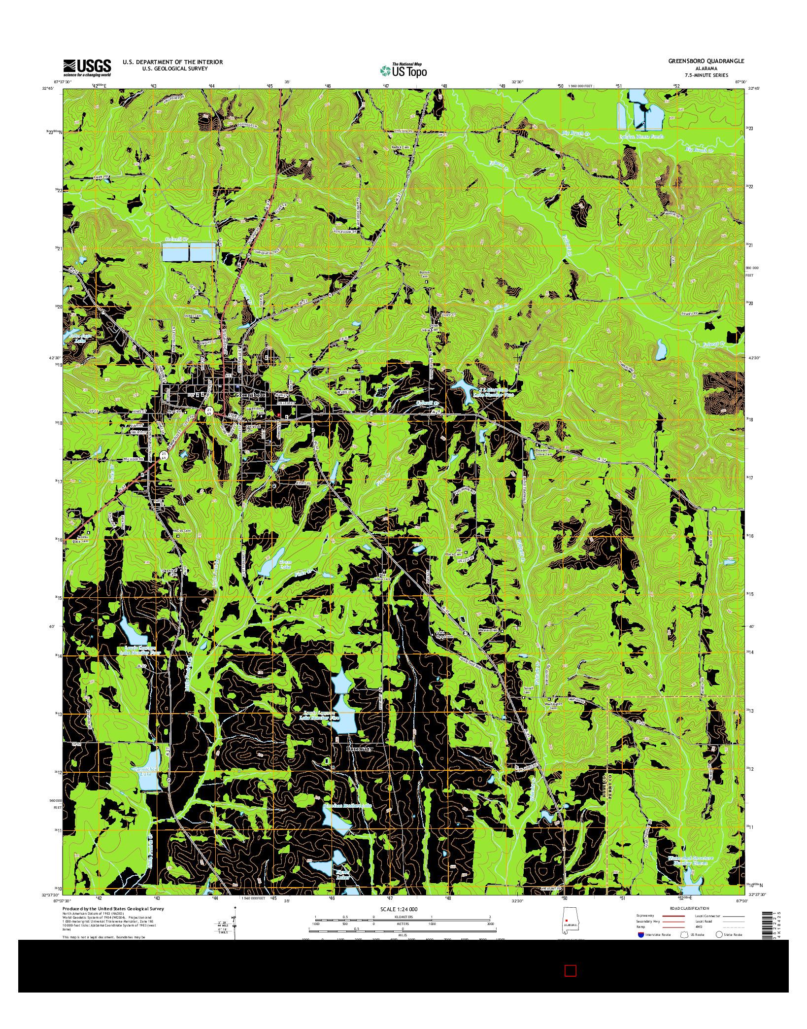 USGS US TOPO 7.5-MINUTE MAP FOR GREENSBORO, AL 2014