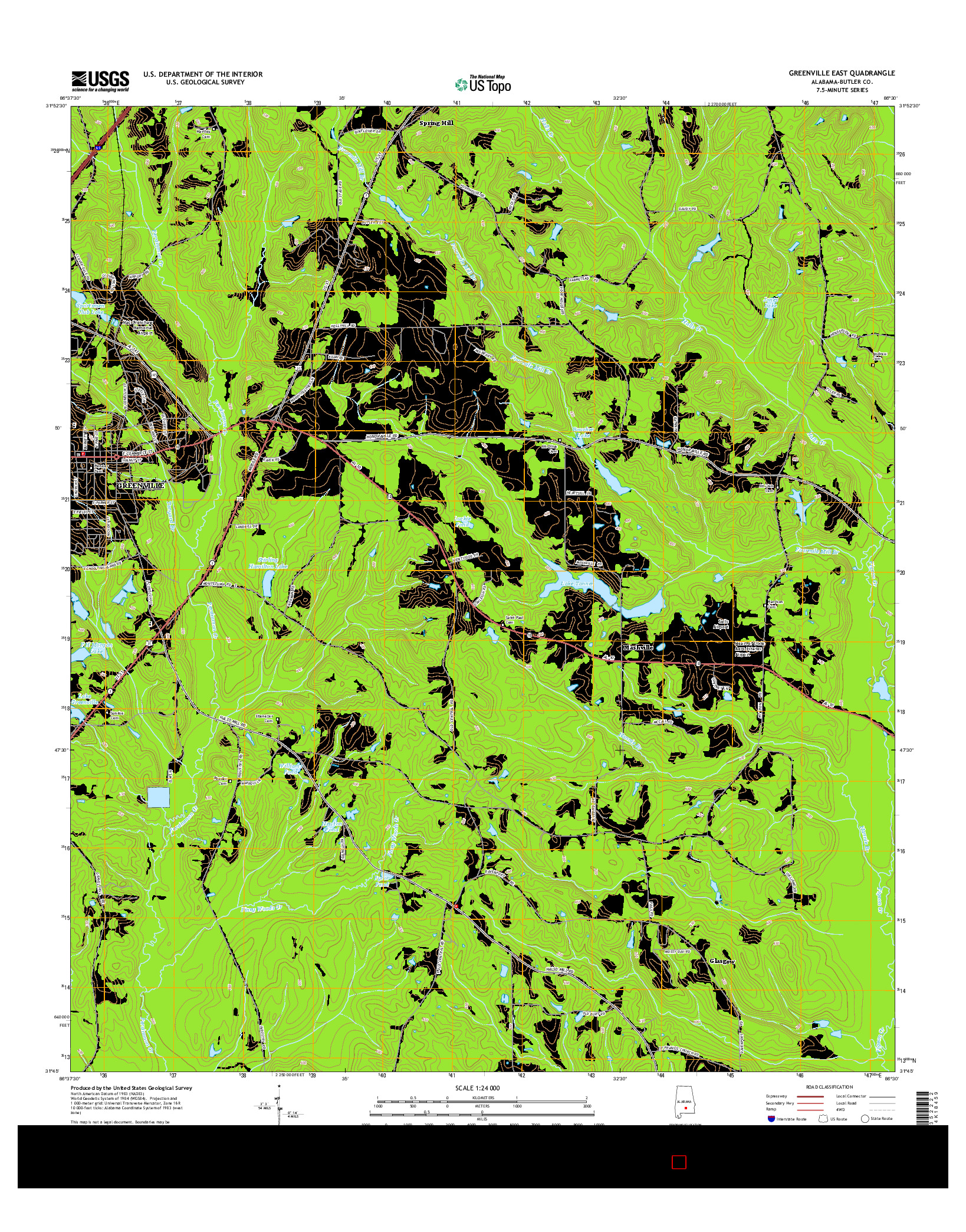 USGS US TOPO 7.5-MINUTE MAP FOR GREENVILLE EAST, AL 2014