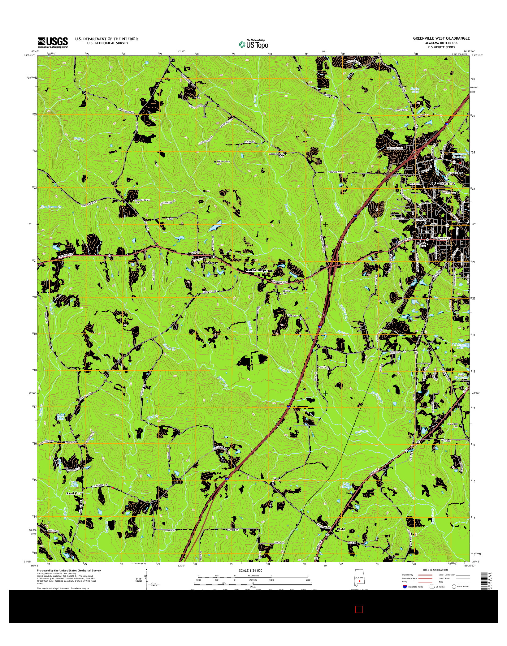 USGS US TOPO 7.5-MINUTE MAP FOR GREENVILLE WEST, AL 2014