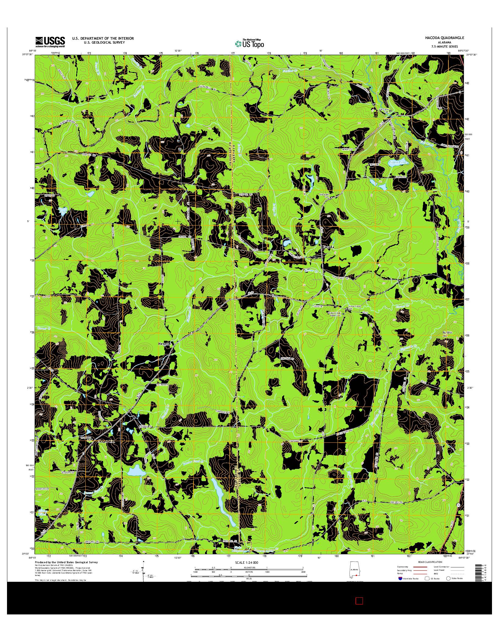 USGS US TOPO 7.5-MINUTE MAP FOR HACODA, AL 2014