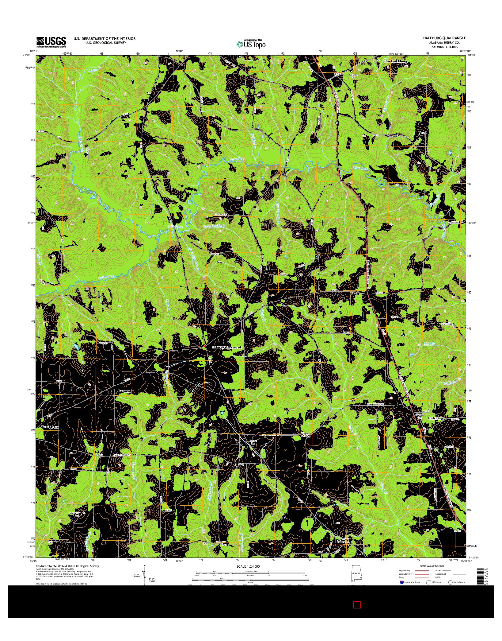 USGS US TOPO 7.5-MINUTE MAP FOR HALEBURG, AL 2014