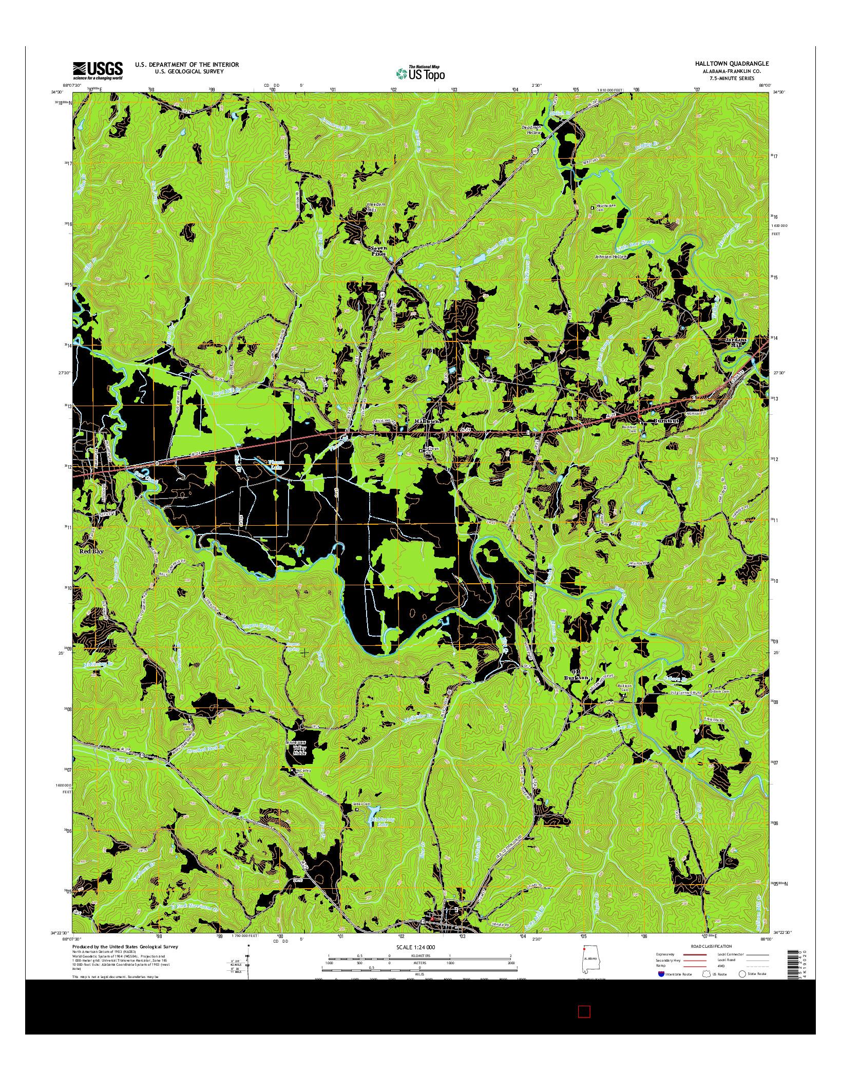 USGS US TOPO 7.5-MINUTE MAP FOR HALLTOWN, AL 2014