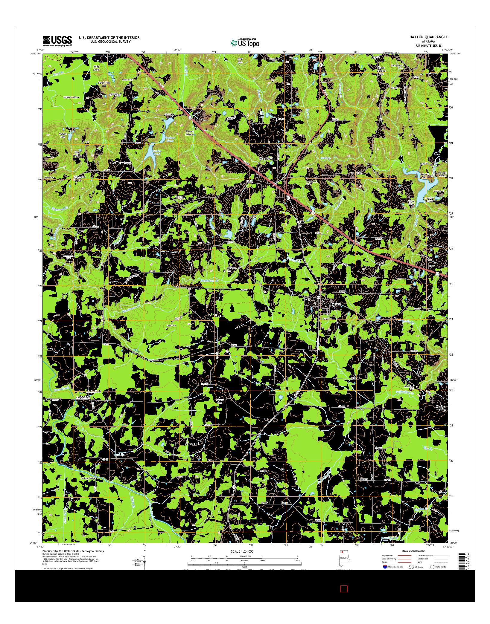 USGS US TOPO 7.5-MINUTE MAP FOR HATTON, AL 2014