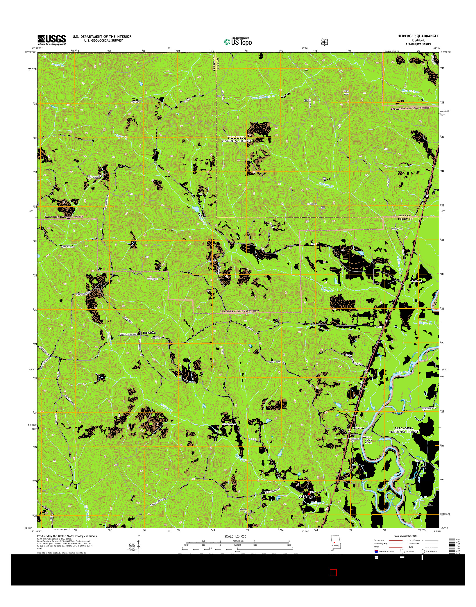 USGS US TOPO 7.5-MINUTE MAP FOR HEIBERGER, AL 2014