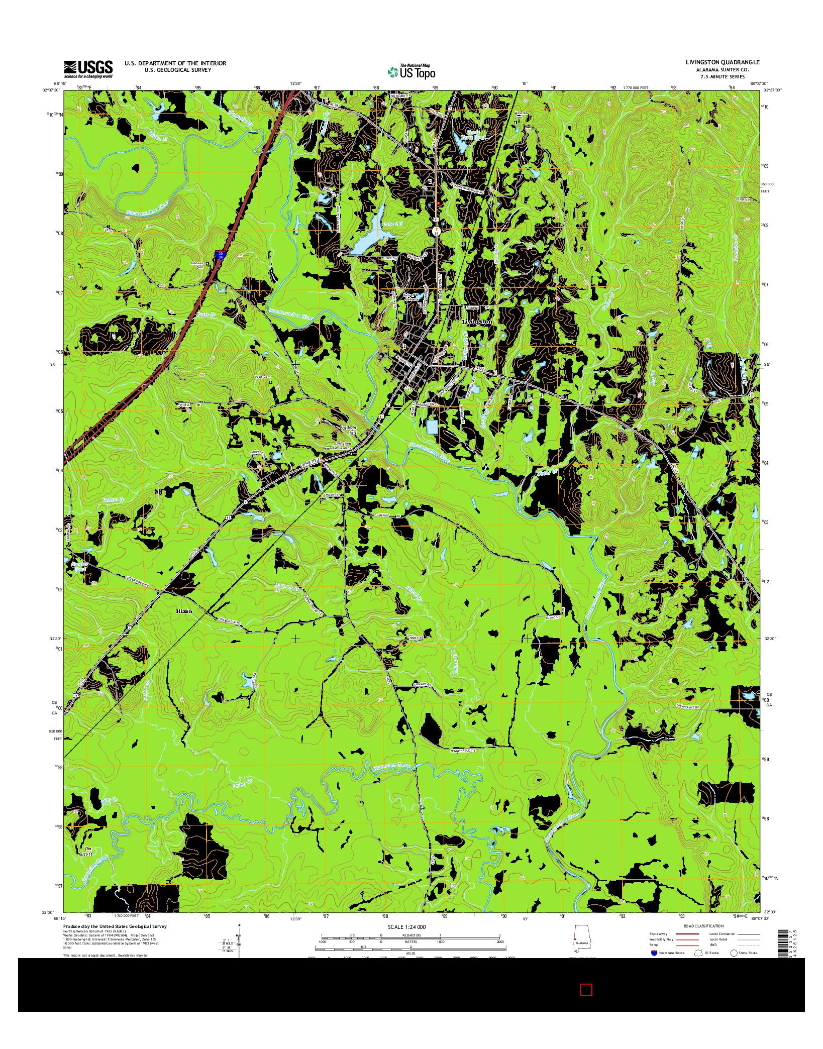 USGS US TOPO 7.5-MINUTE MAP FOR LIVINGSTON, AL 2014