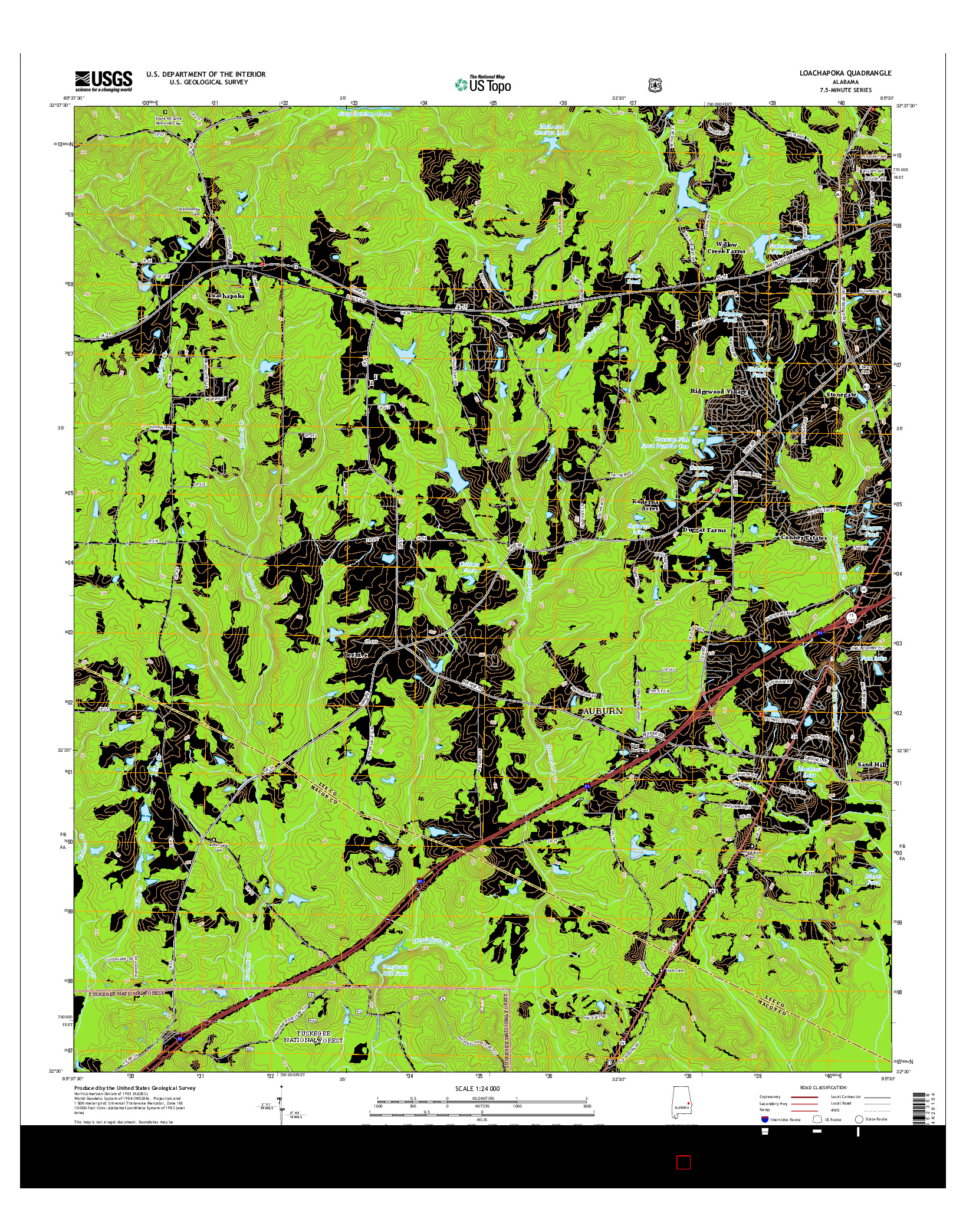 USGS US TOPO 7.5-MINUTE MAP FOR LOACHAPOKA, AL 2014
