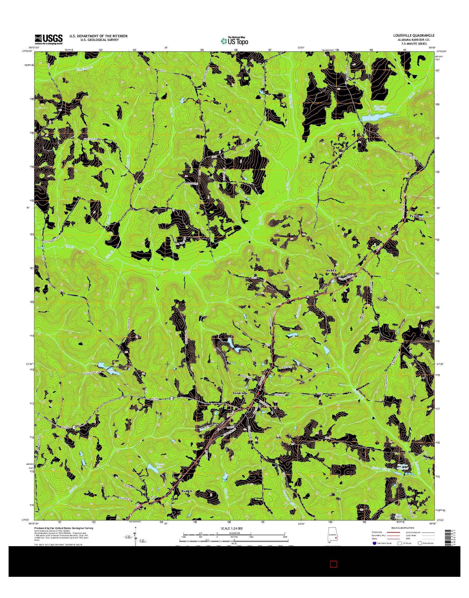 USGS US TOPO 7.5-MINUTE MAP FOR LOUISVILLE, AL 2014