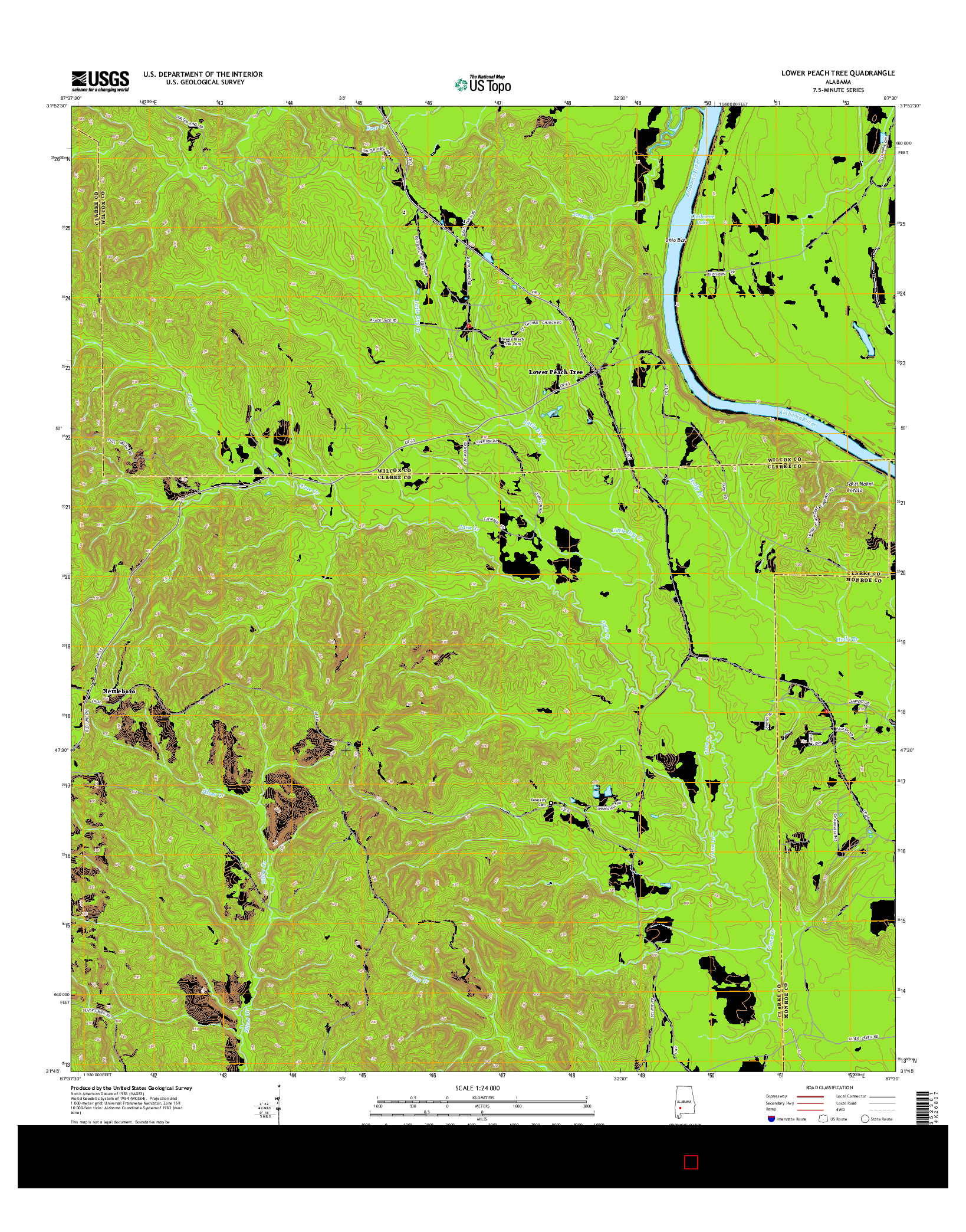 USGS US TOPO 7.5-MINUTE MAP FOR LOWER PEACH TREE, AL 2014