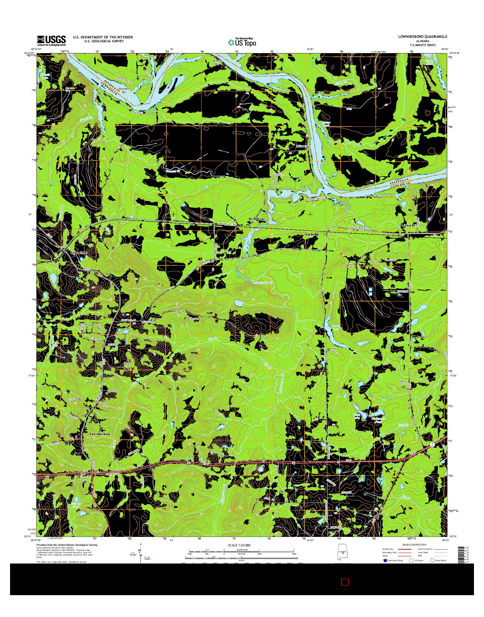 USGS US TOPO 7.5-MINUTE MAP FOR LOWNDESBORO, AL 2014