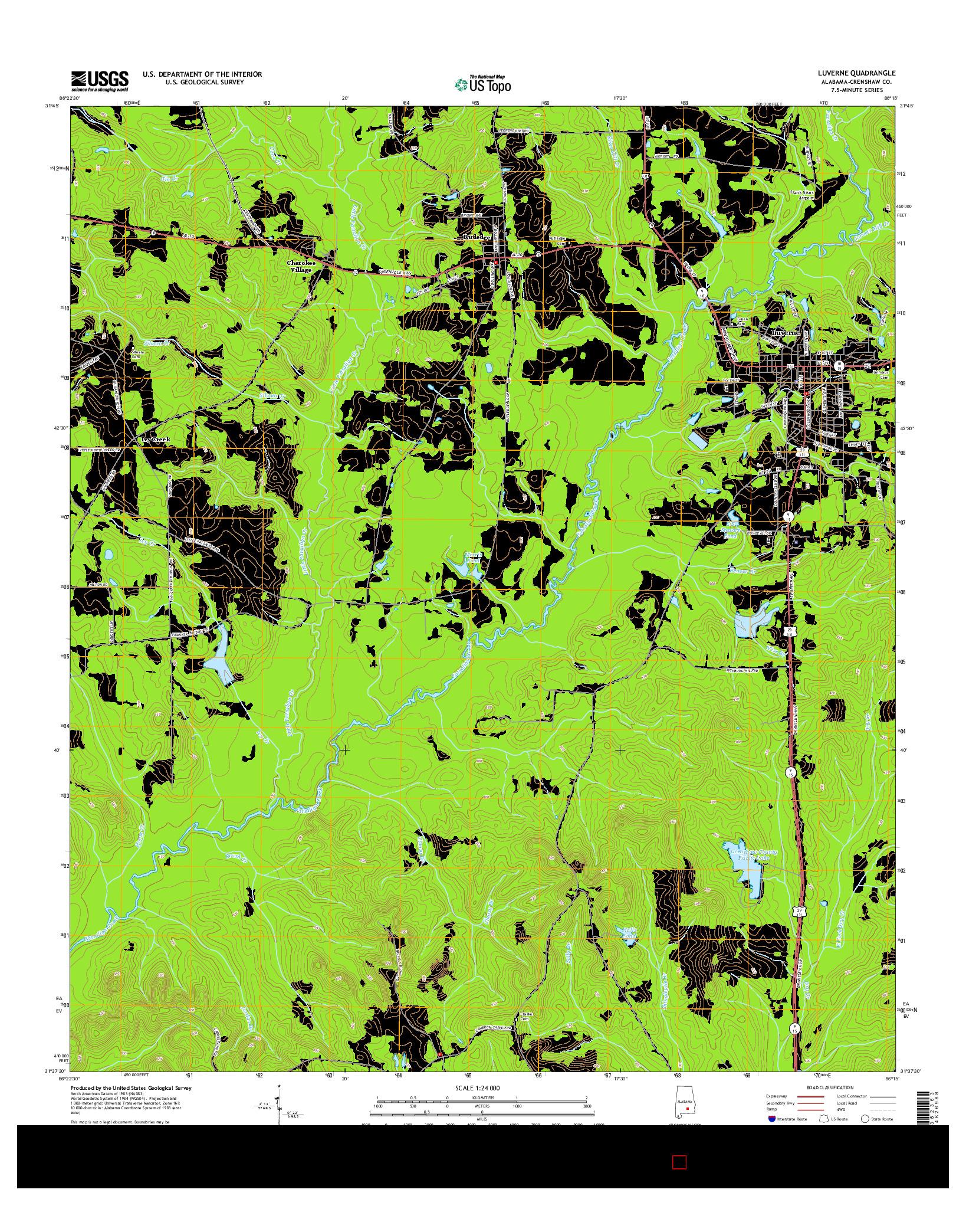 USGS US TOPO 7.5-MINUTE MAP FOR LUVERNE, AL 2014