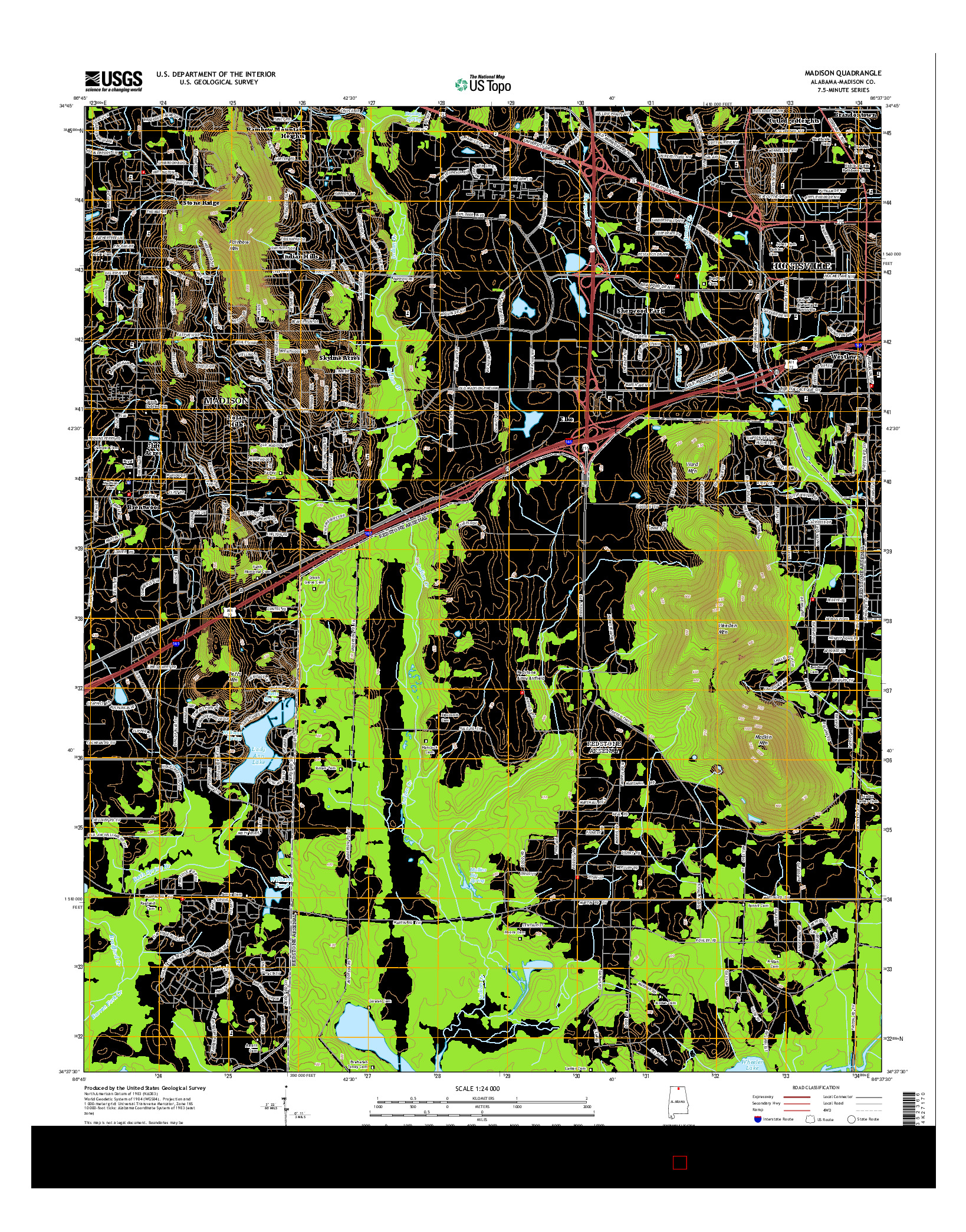 USGS US TOPO 7.5-MINUTE MAP FOR MADISON, AL 2014