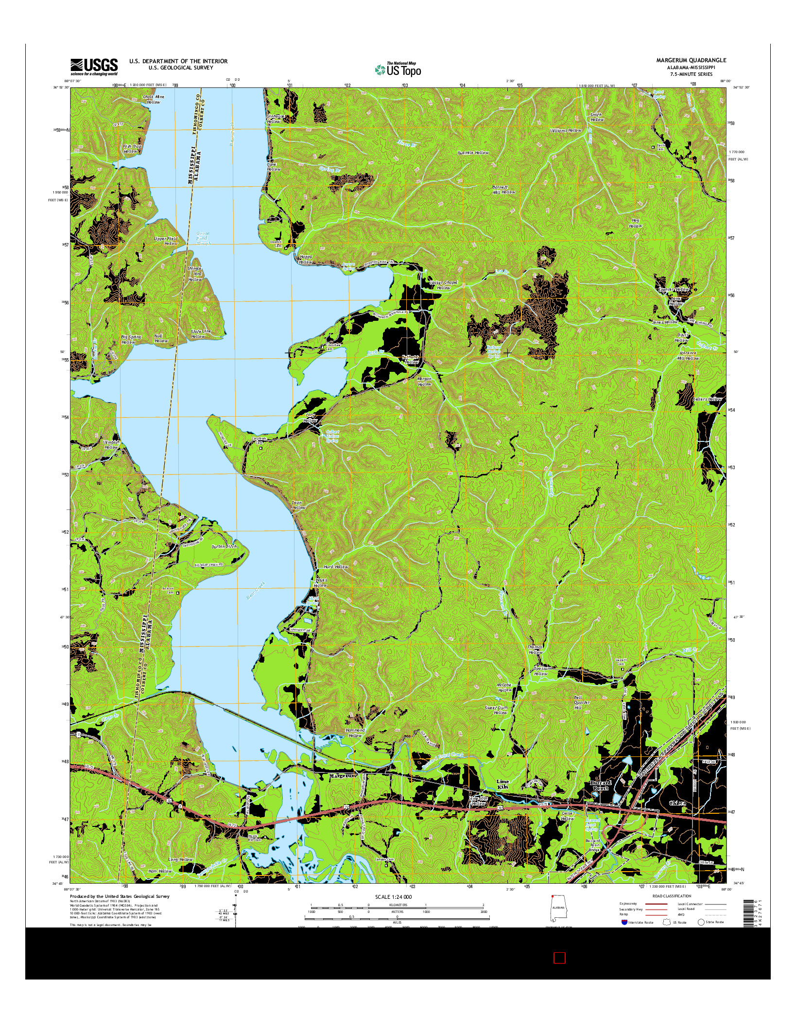 USGS US TOPO 7.5-MINUTE MAP FOR MARGERUM, AL-MS 2014