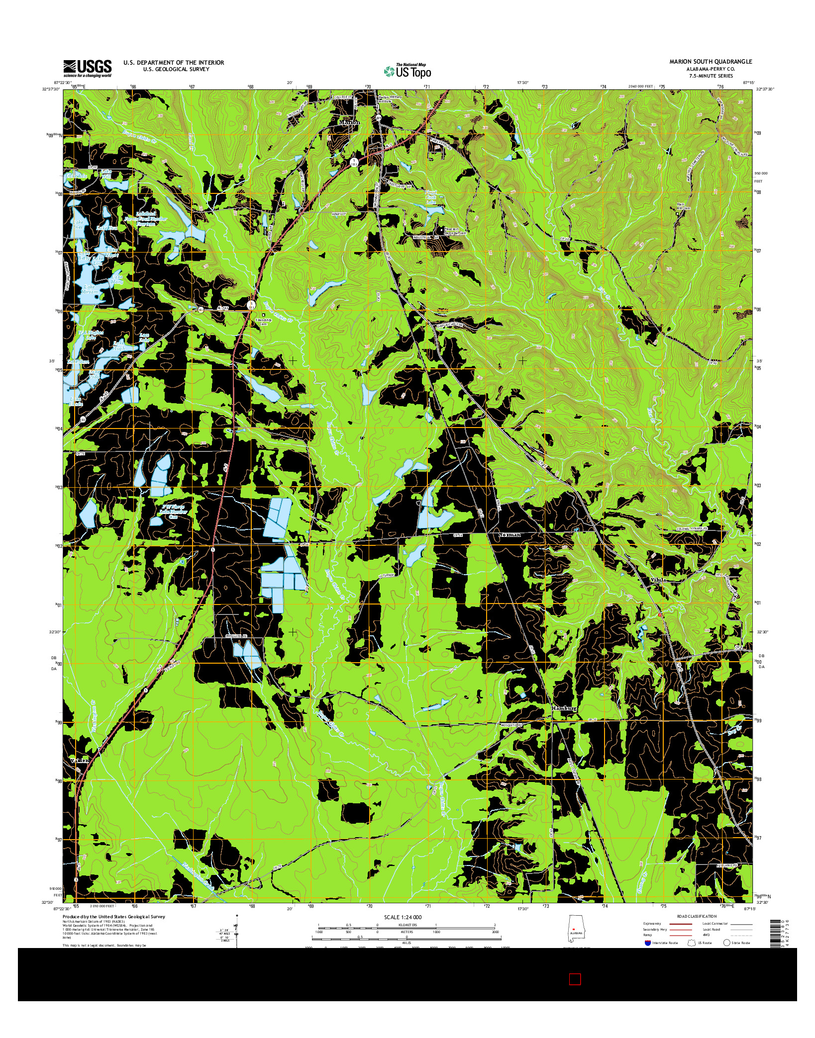 USGS US TOPO 7.5-MINUTE MAP FOR MARION SOUTH, AL 2014