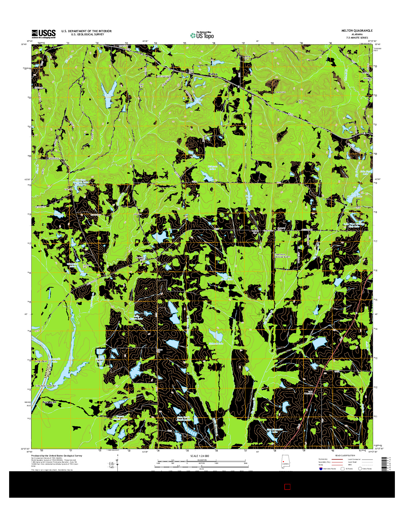USGS US TOPO 7.5-MINUTE MAP FOR MELTON, AL 2014
