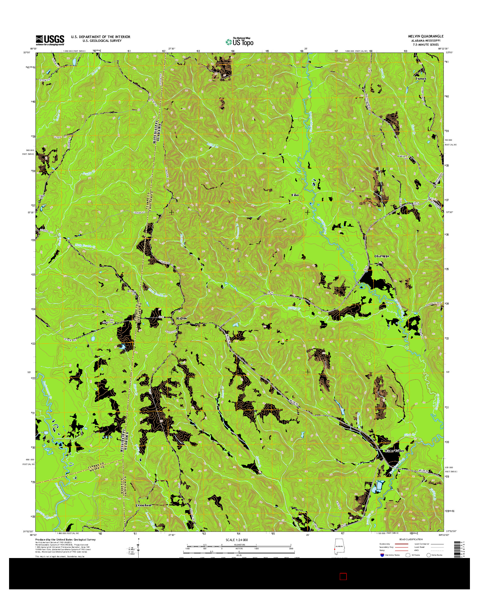 USGS US TOPO 7.5-MINUTE MAP FOR MELVIN, AL-MS 2014