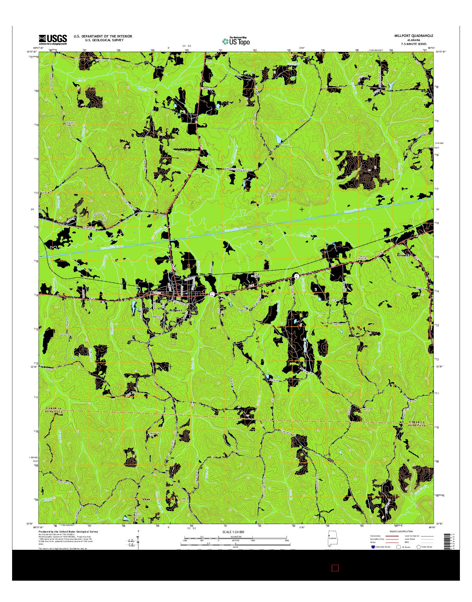 USGS US TOPO 7.5-MINUTE MAP FOR MILLPORT, AL 2014