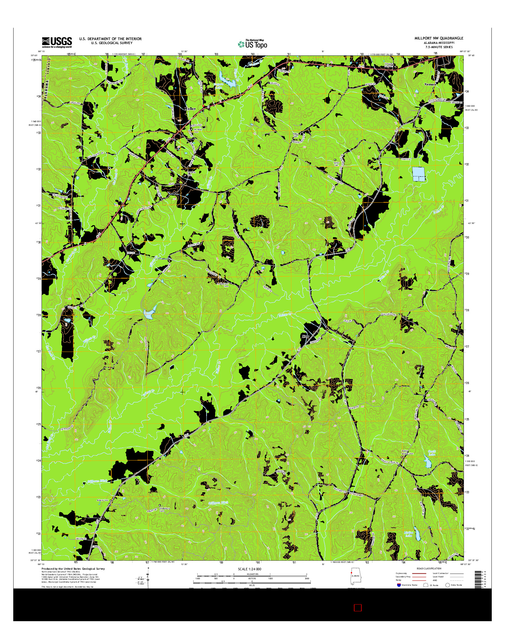 USGS US TOPO 7.5-MINUTE MAP FOR MILLPORT NW, AL-MS 2014
