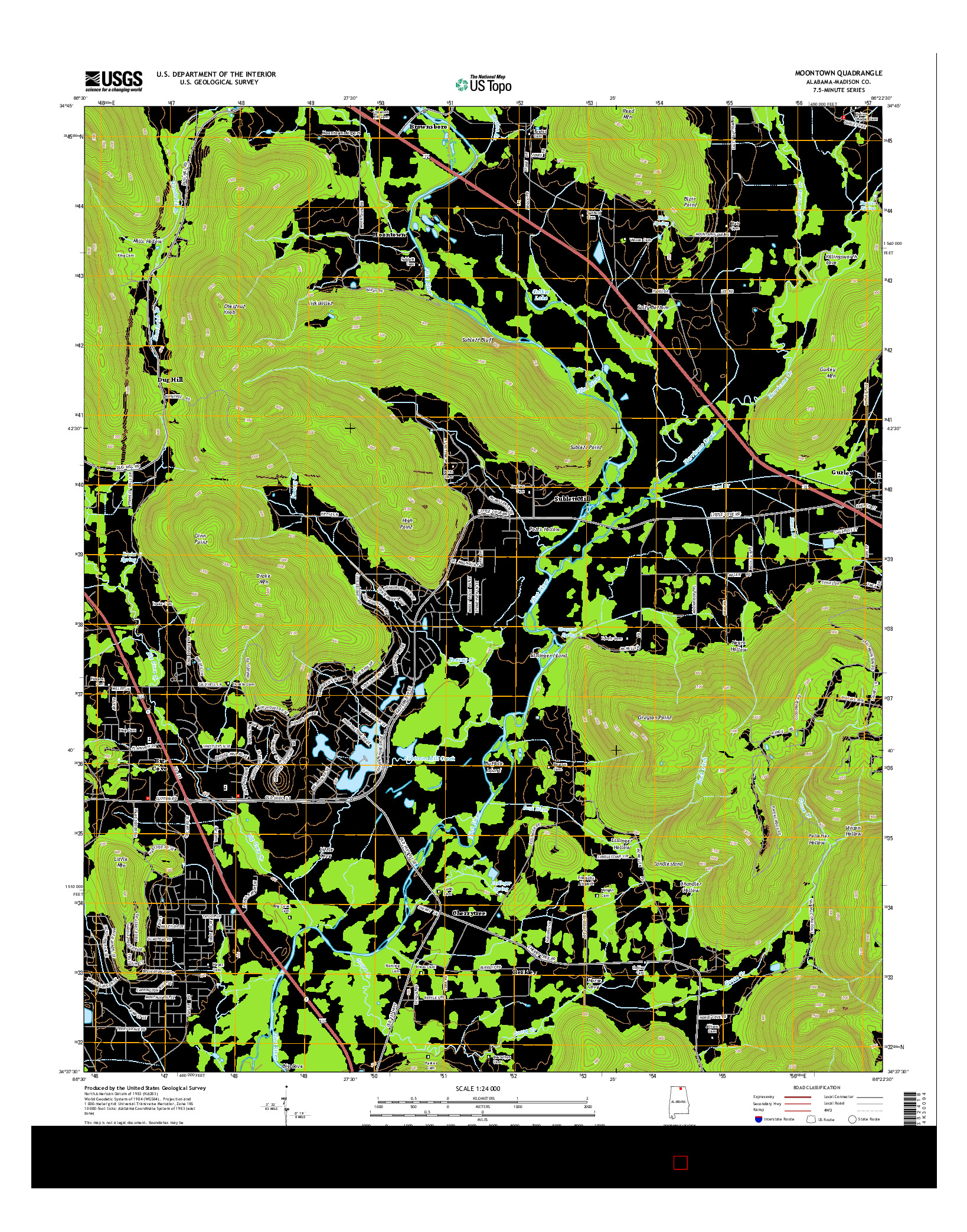 USGS US TOPO 7.5-MINUTE MAP FOR MOONTOWN, AL 2014
