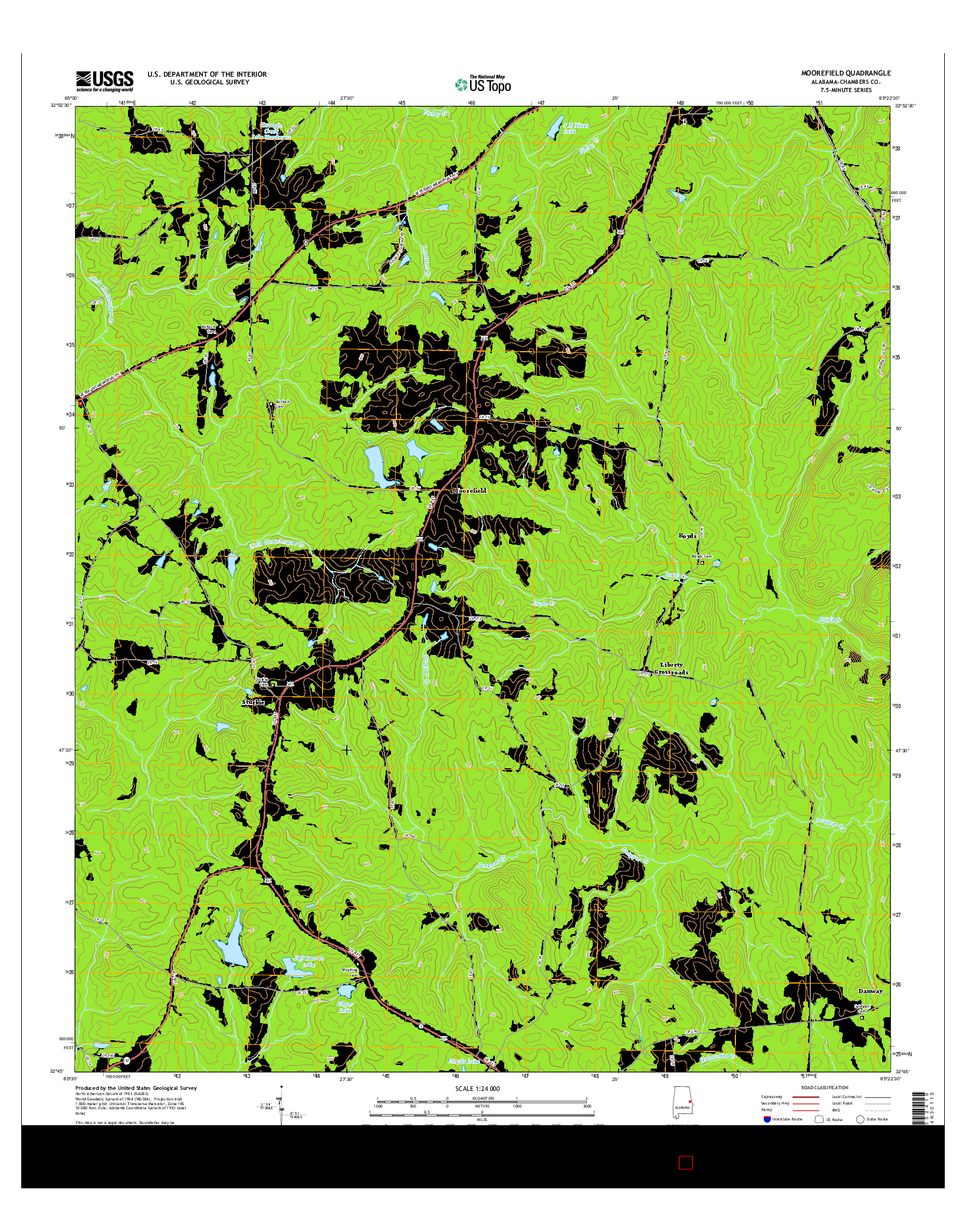 USGS US TOPO 7.5-MINUTE MAP FOR MOOREFIELD, AL 2014