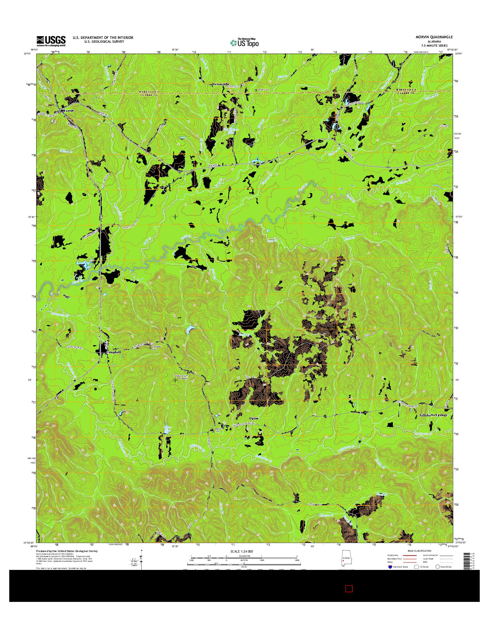 USGS US TOPO 7.5-MINUTE MAP FOR MORVIN, AL 2014