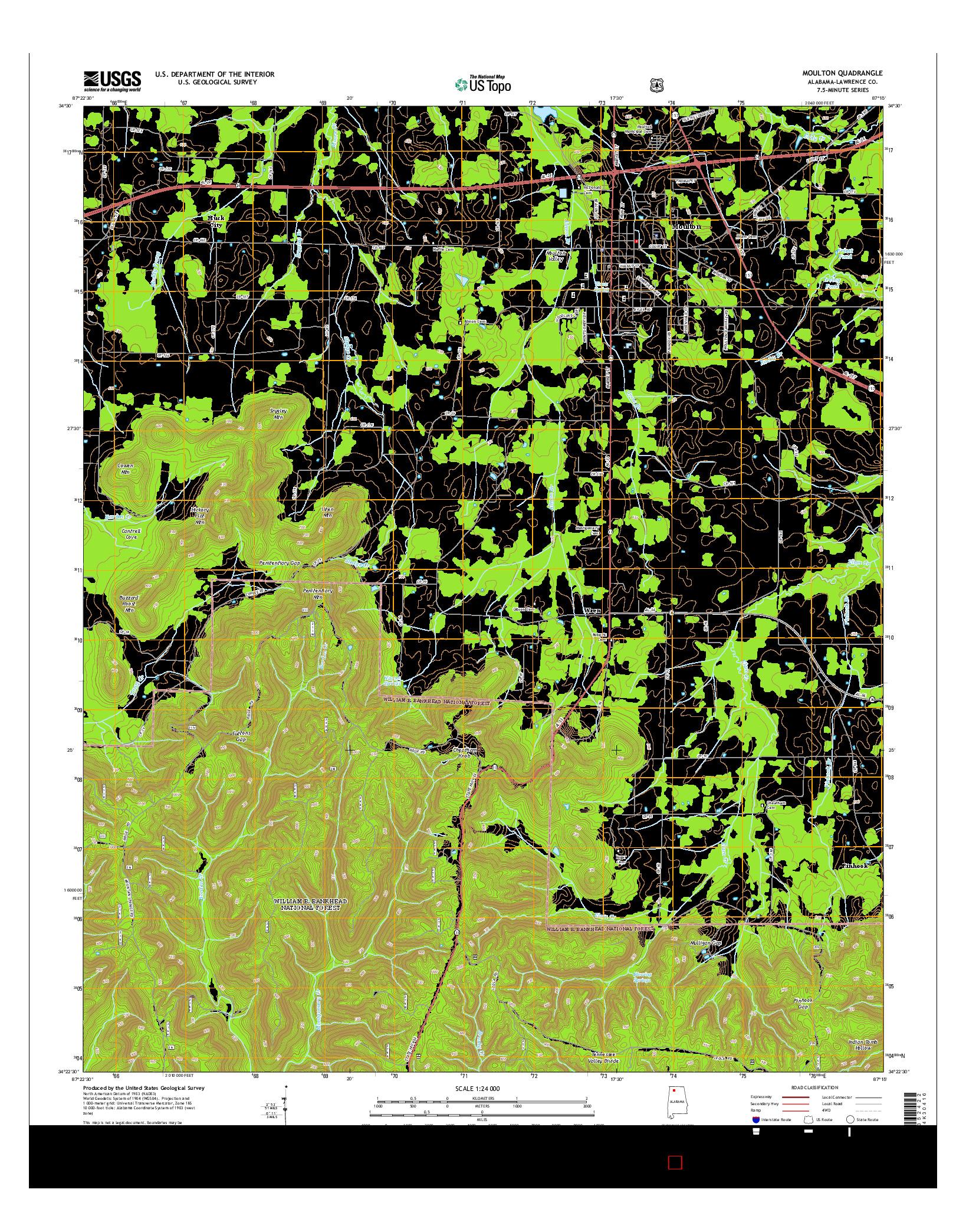 USGS US TOPO 7.5-MINUTE MAP FOR MOULTON, AL 2014