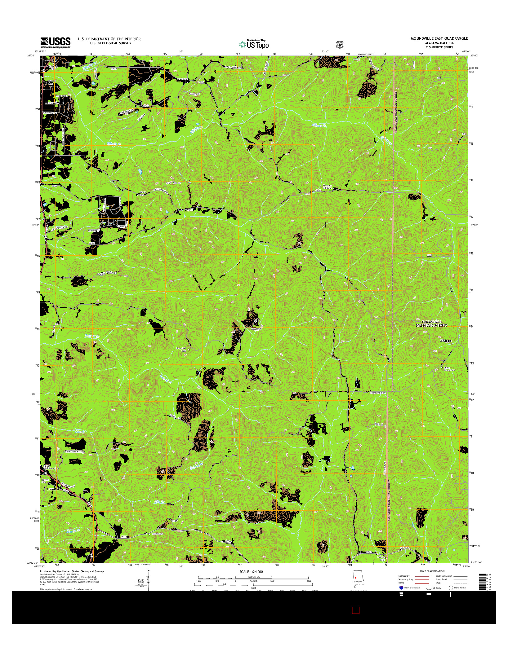 USGS US TOPO 7.5-MINUTE MAP FOR MOUNDVILLE EAST, AL 2014
