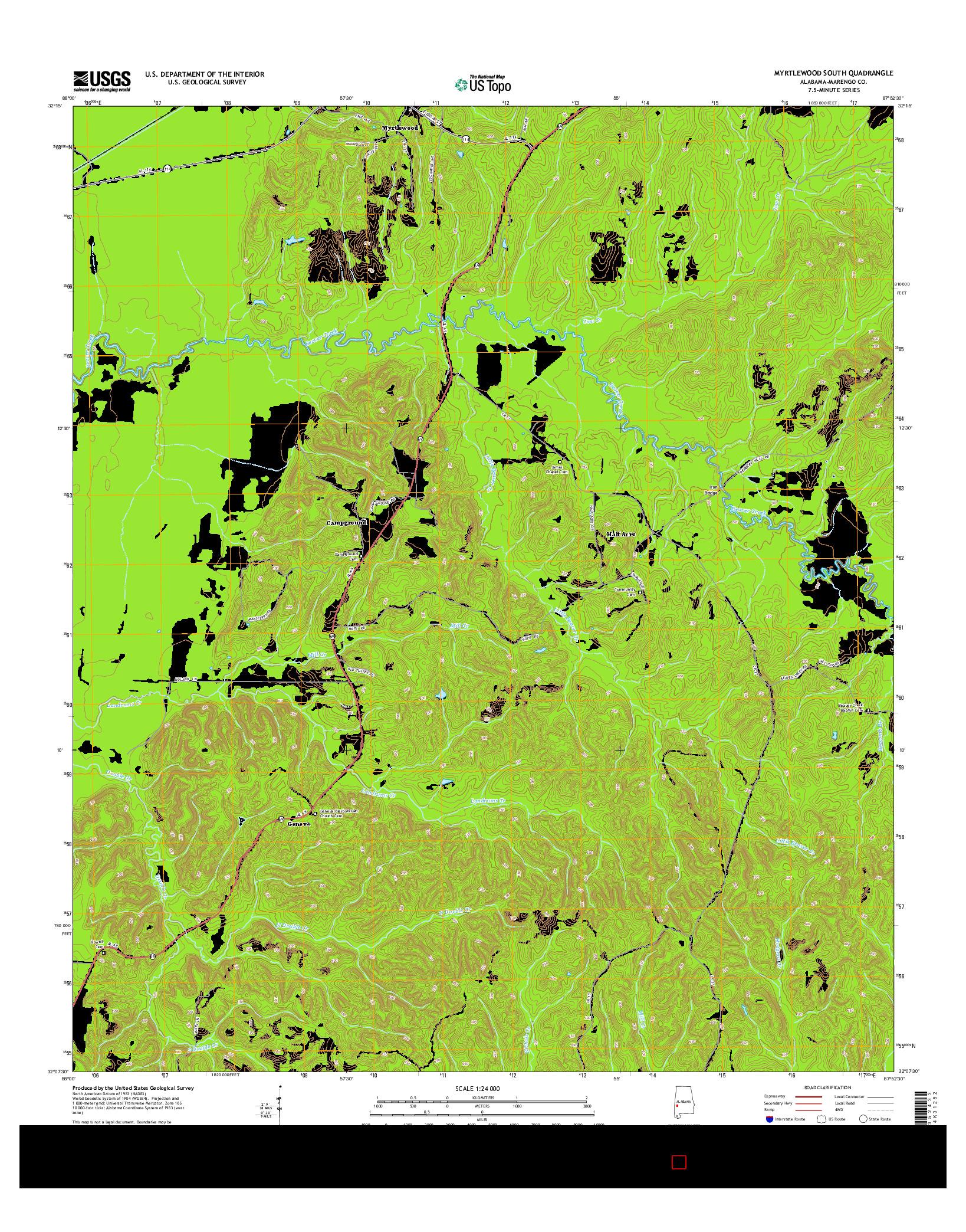 USGS US TOPO 7.5-MINUTE MAP FOR MYRTLEWOOD SOUTH, AL 2014