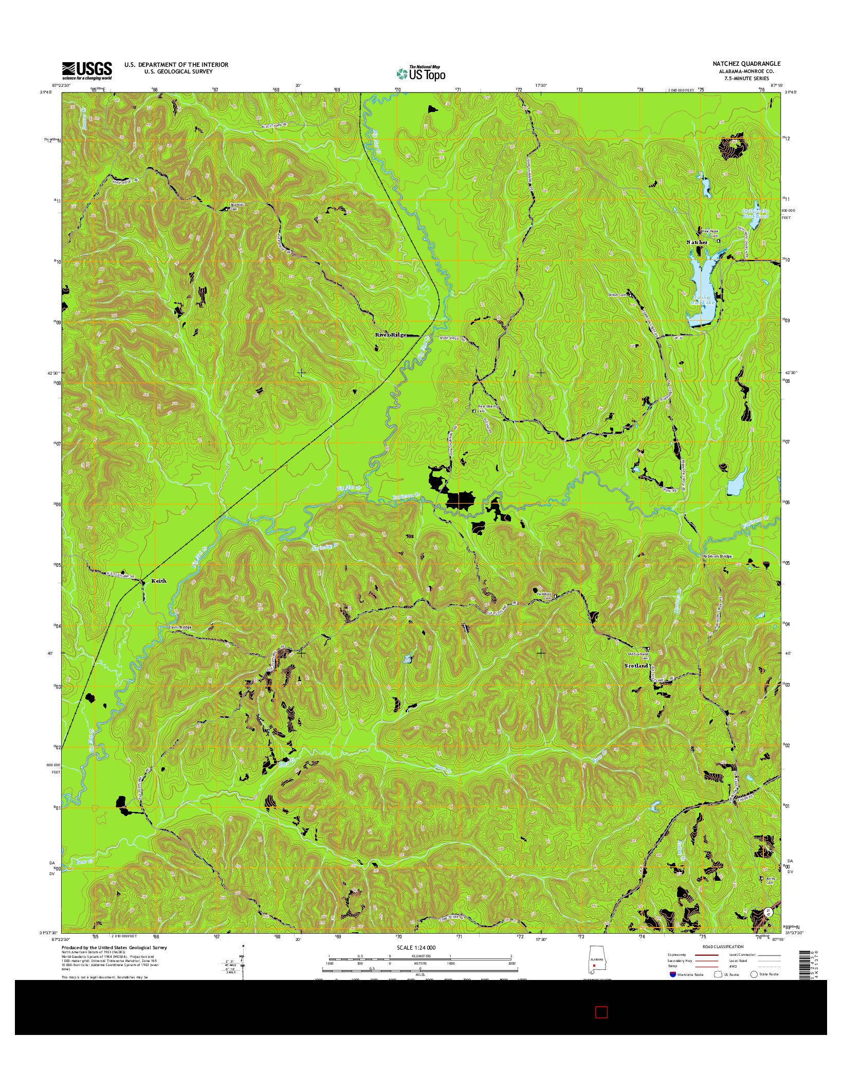 USGS US TOPO 7.5-MINUTE MAP FOR NATCHEZ, AL 2014
