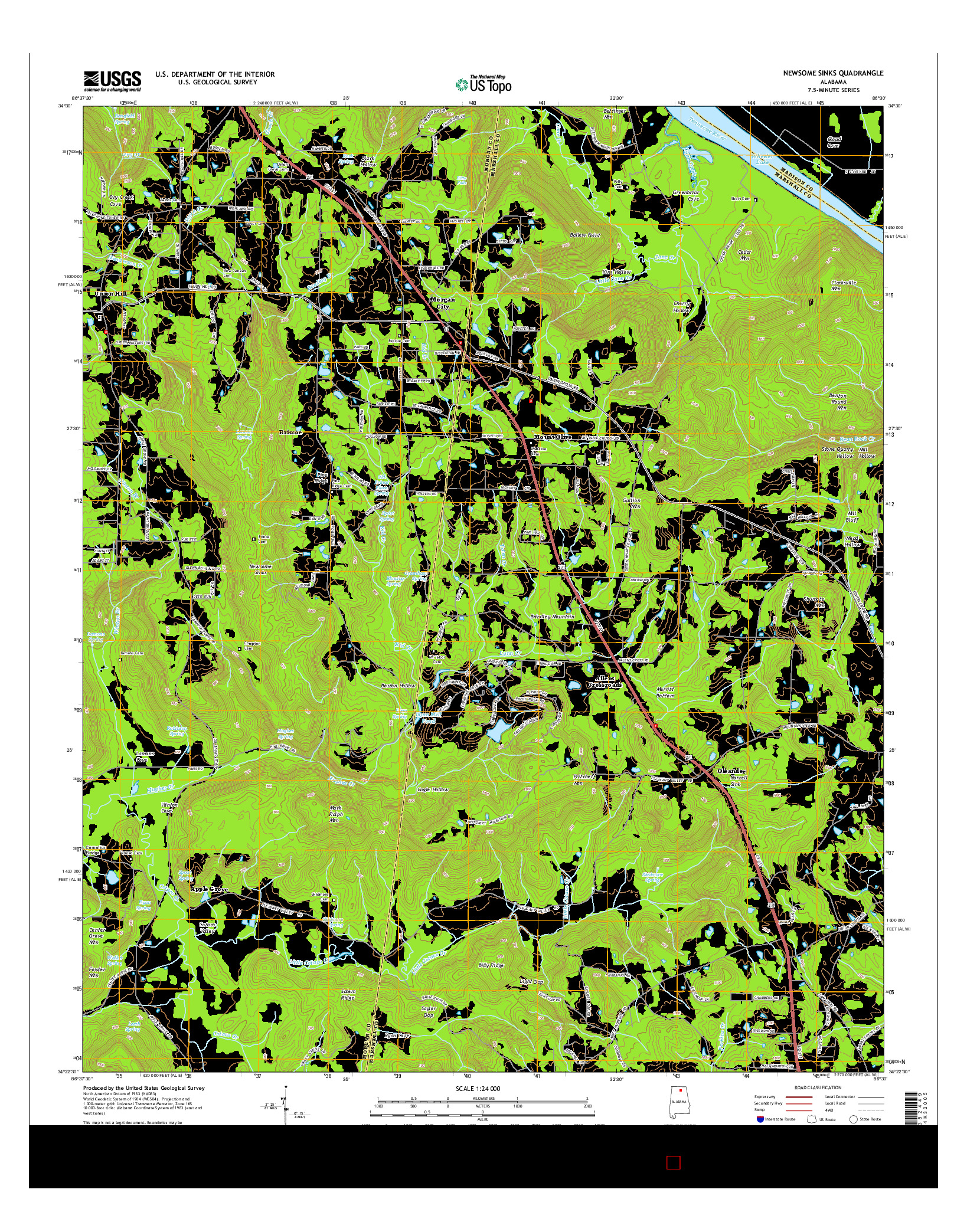 USGS US TOPO 7.5-MINUTE MAP FOR NEWSOME SINKS, AL 2014