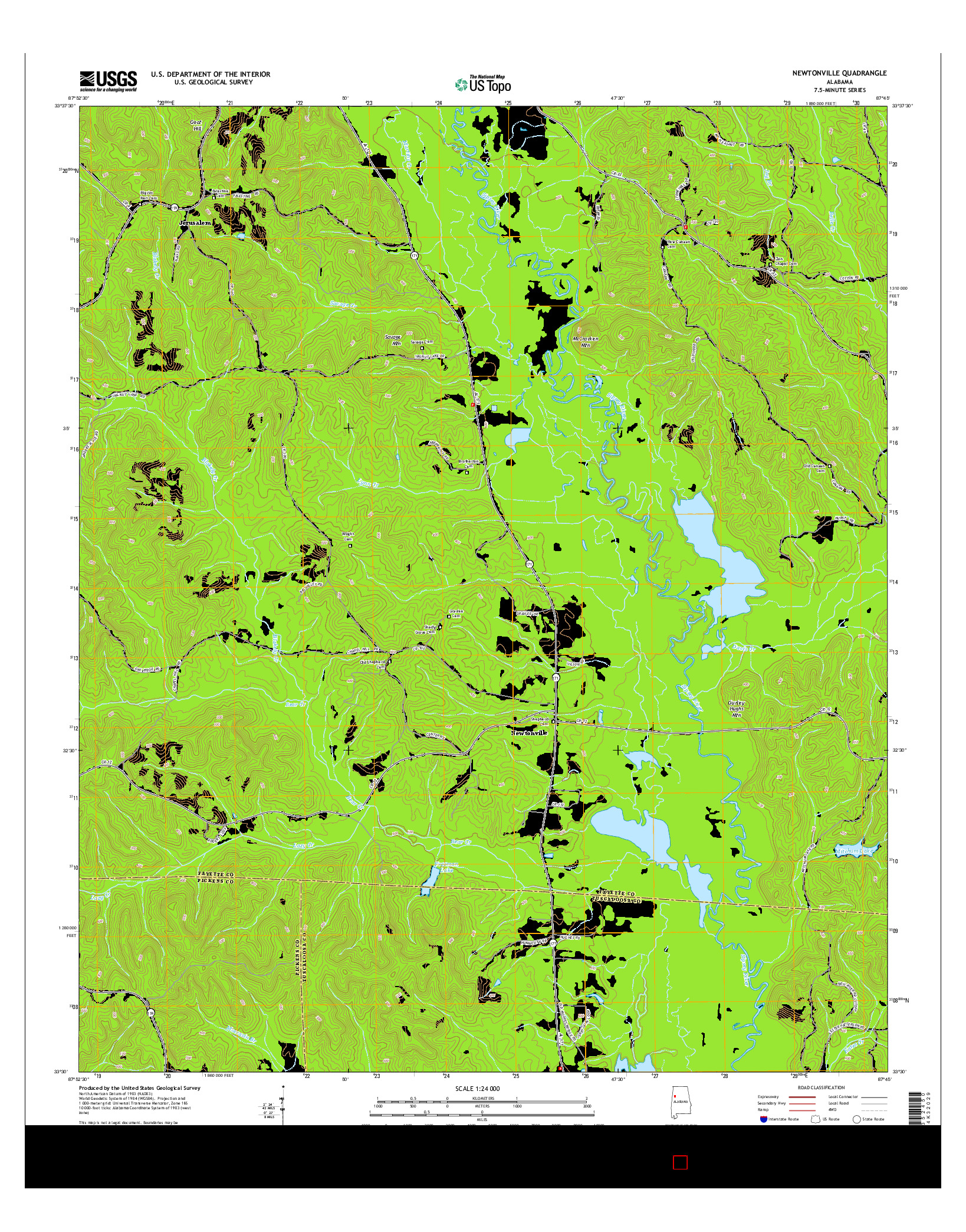 USGS US TOPO 7.5-MINUTE MAP FOR NEWTONVILLE, AL 2014