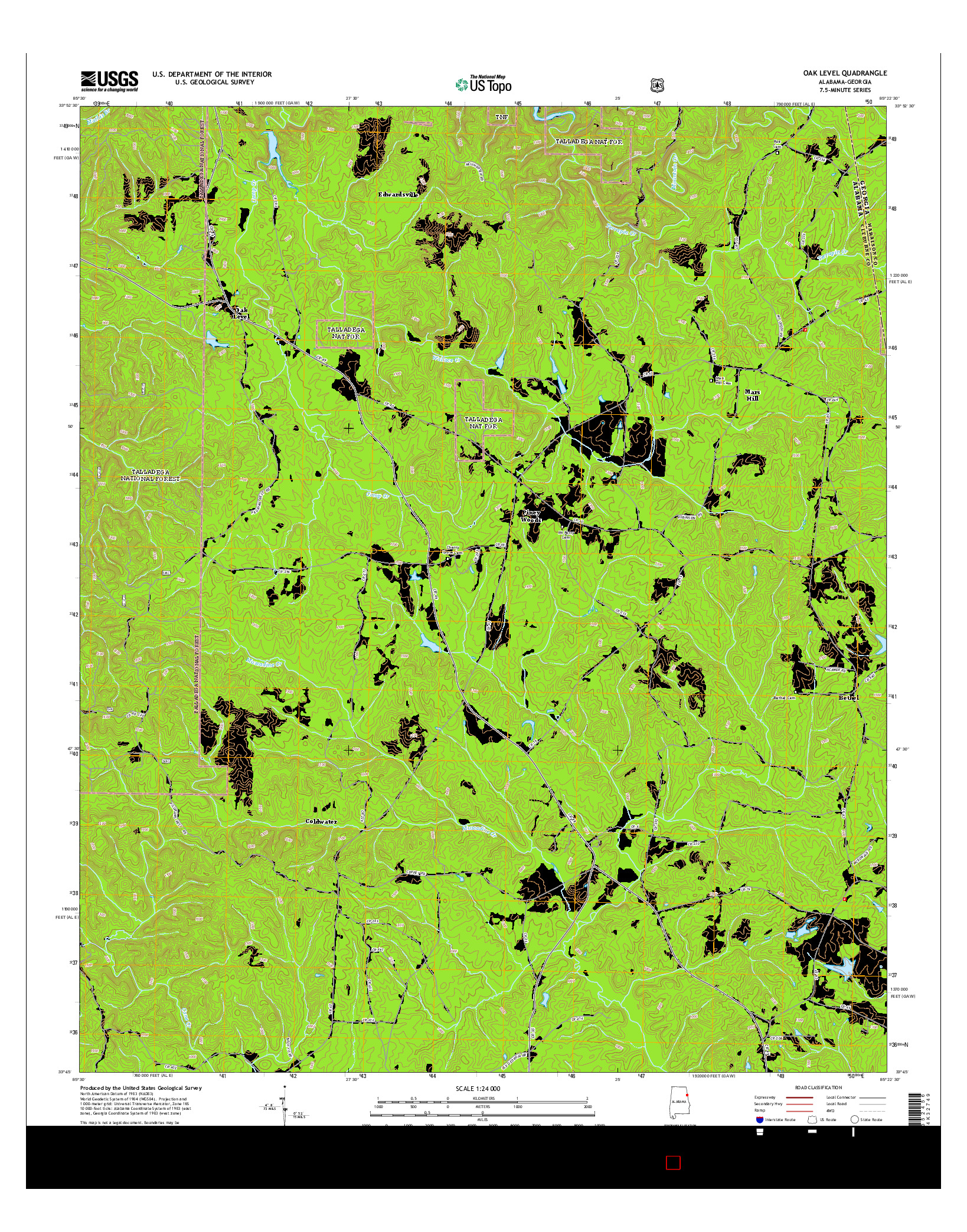 USGS US TOPO 7.5-MINUTE MAP FOR OAK LEVEL, AL-GA 2014