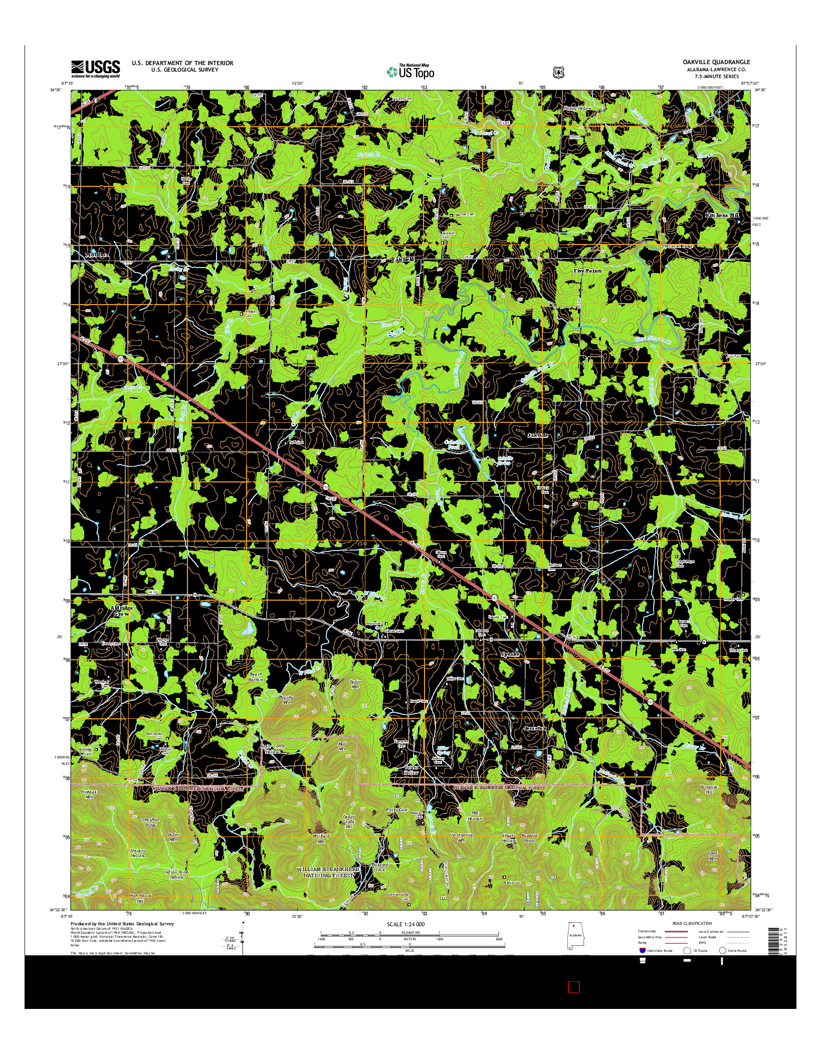 USGS US TOPO 7.5-MINUTE MAP FOR OAKVILLE, AL 2014