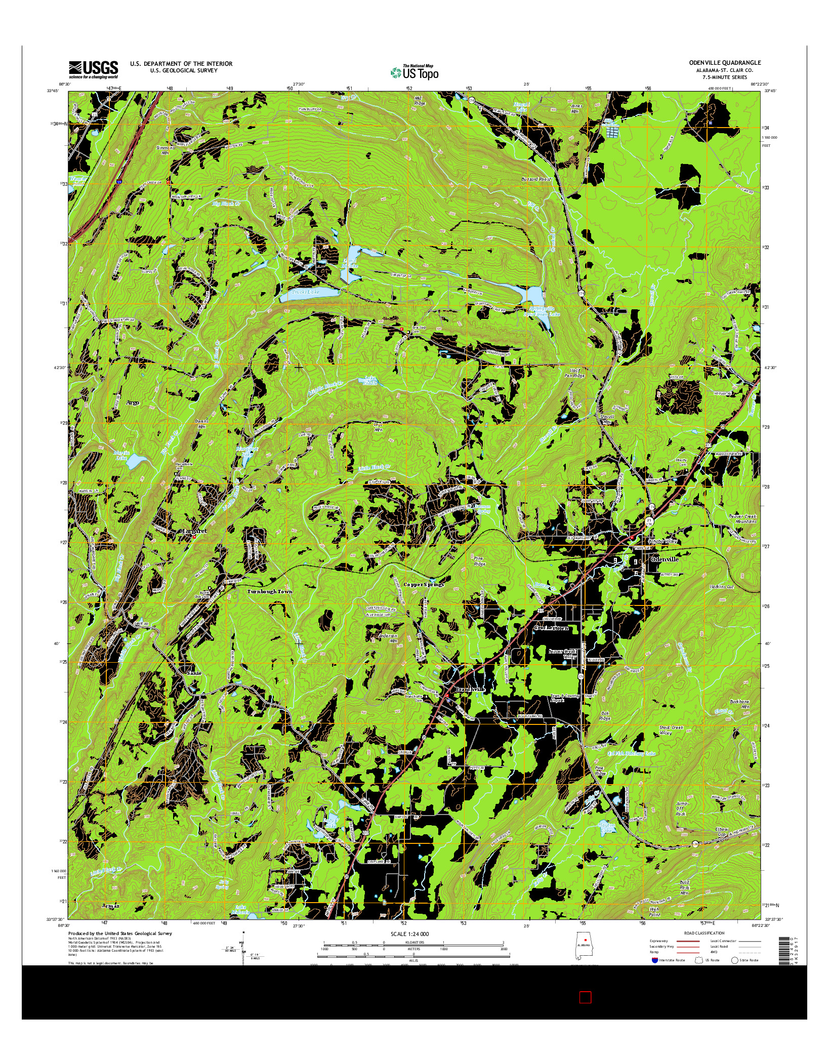 USGS US TOPO 7.5-MINUTE MAP FOR ODENVILLE, AL 2014