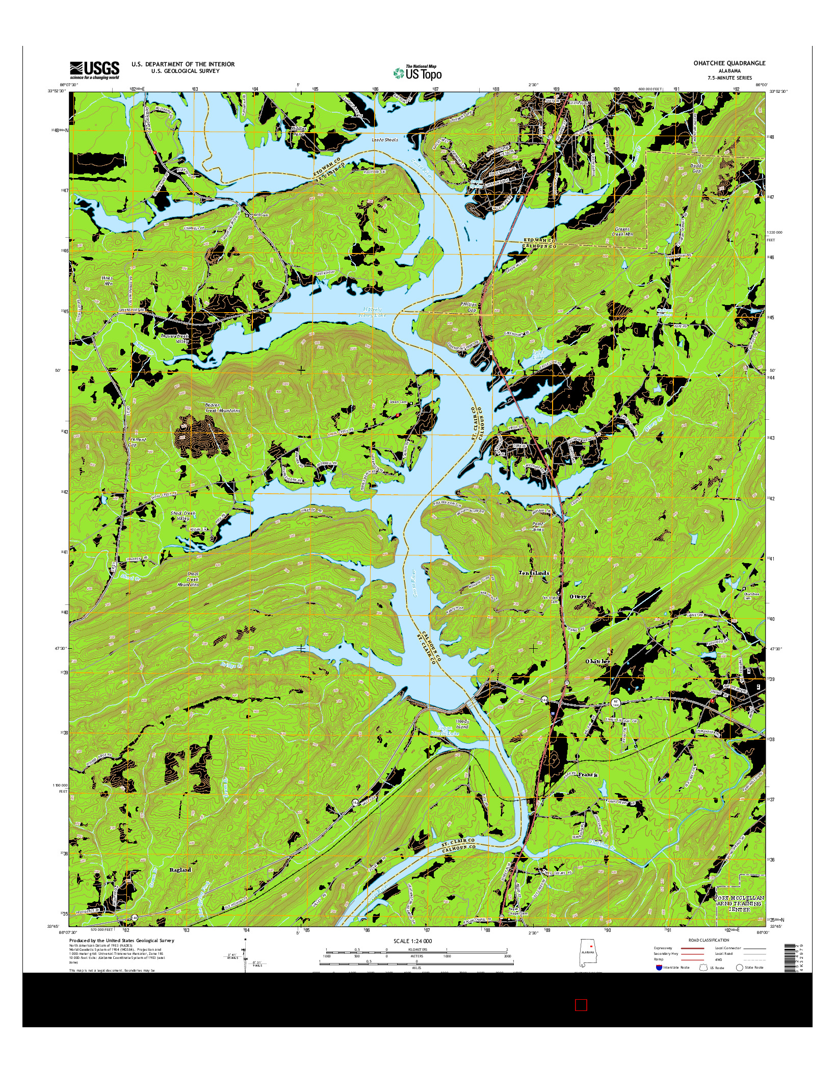 USGS US TOPO 7.5-MINUTE MAP FOR OHATCHEE, AL 2014