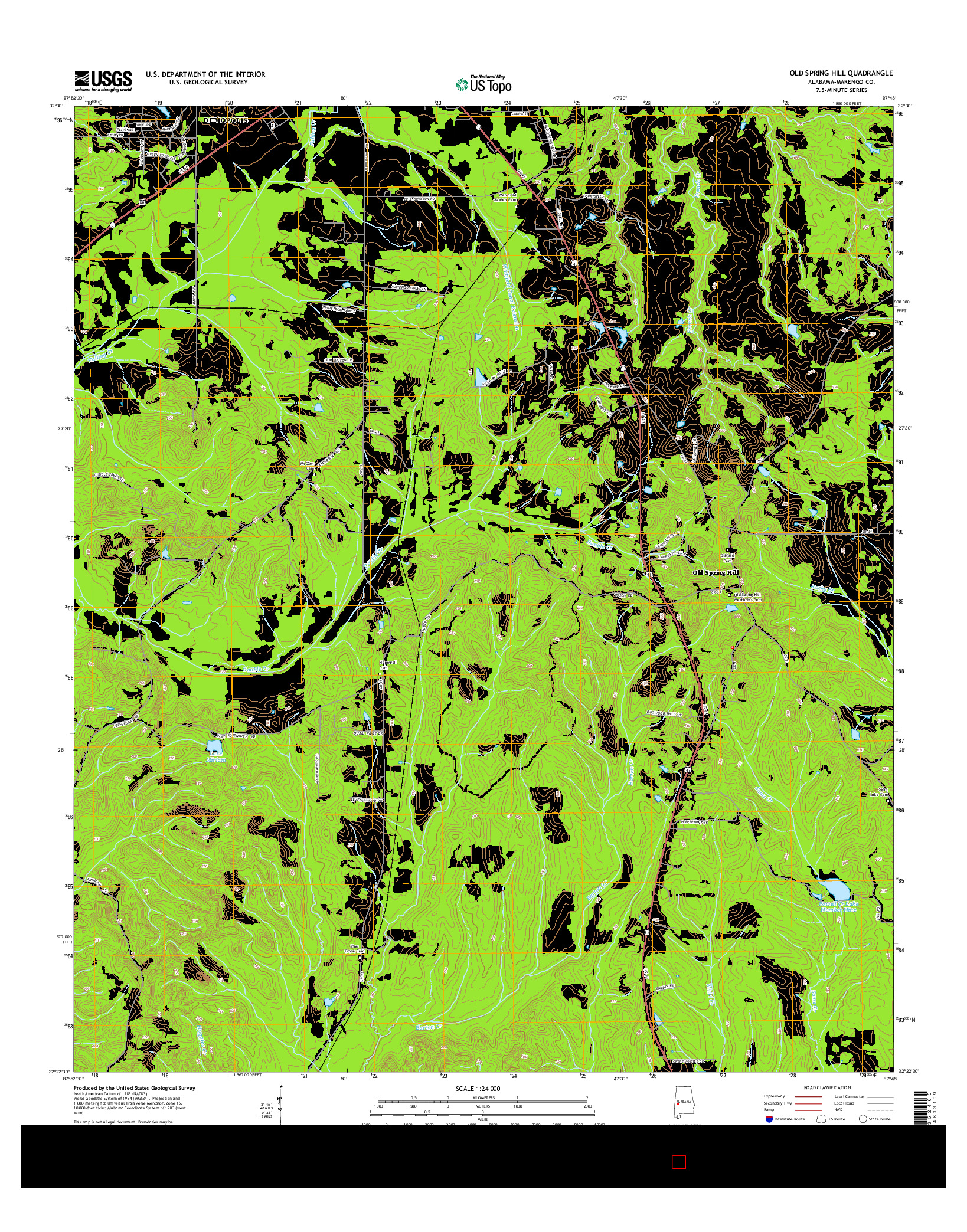 USGS US TOPO 7.5-MINUTE MAP FOR OLD SPRING HILL, AL 2014